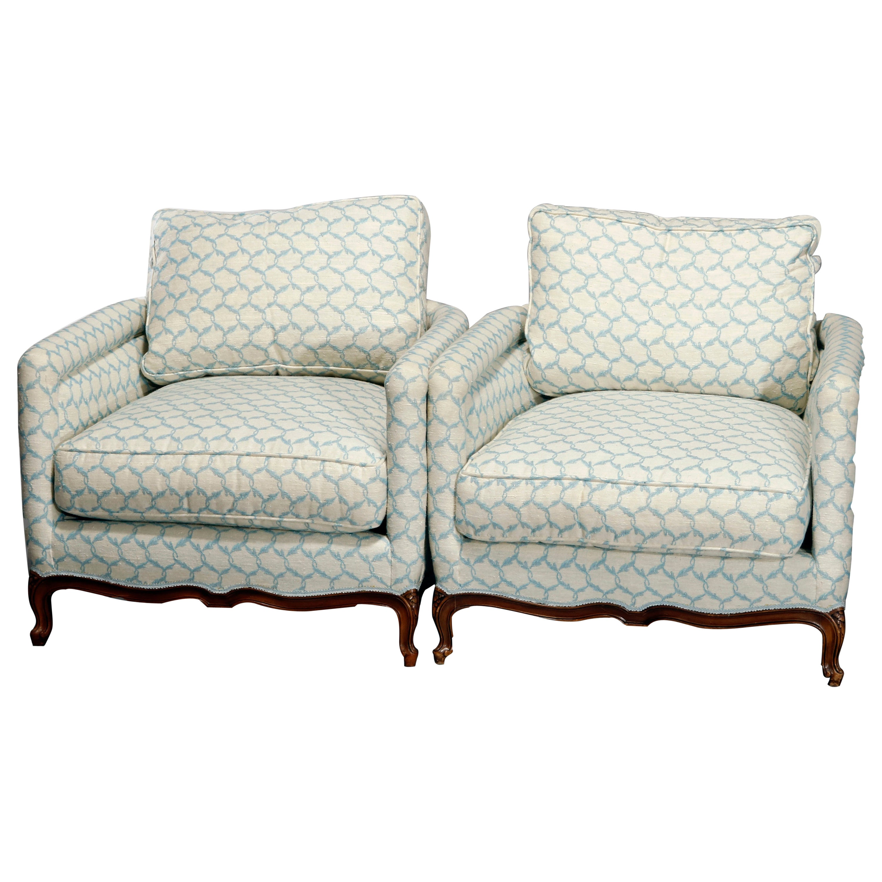 Antique Pair French Louis XV Style Upholstered Armchairs, 20th Century