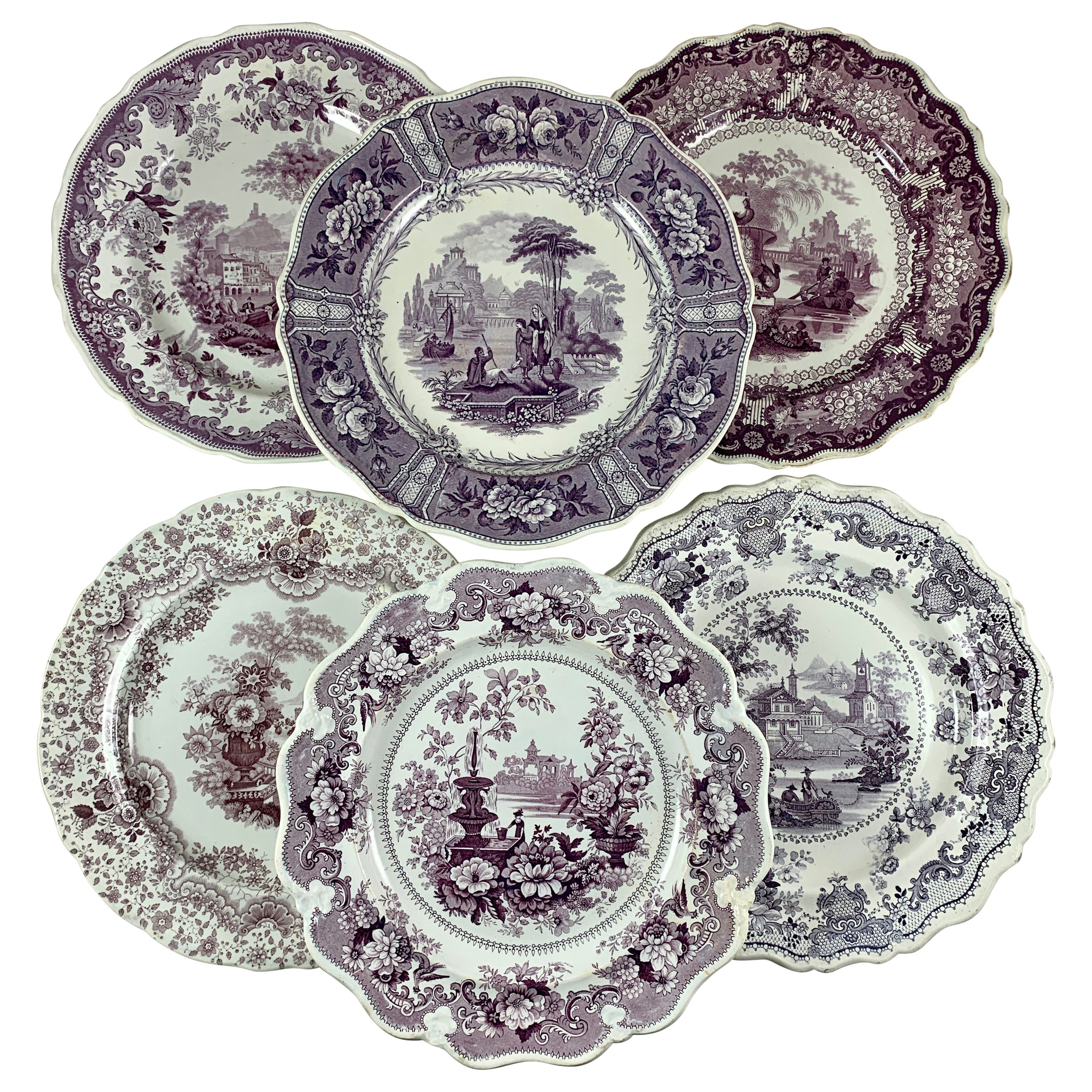English Staffordshire Purple Transferware Dinner Plates, Mixed Set of 6