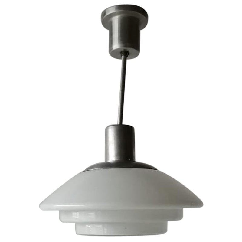 Layered Milk Glass Art Deco Pendant Lamp by VERALUX, 1940s, Made in Germany