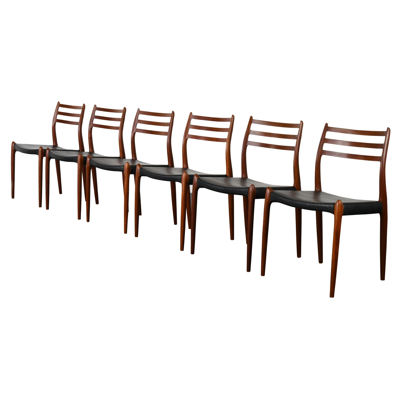 Niels Moller Model 78 Teak Dining Chairs for J L Mollers Mobelfabrik, 1960s