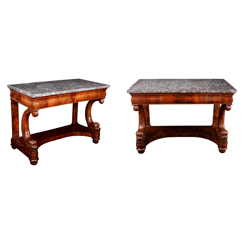Pair 19th Century Italian Napoleonite & Walnut Console Tables