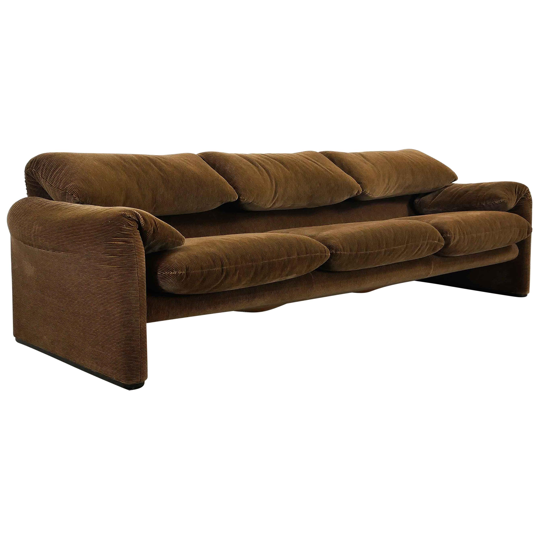 Maralunga 3-Seat Sofa by Vico Magistretti for Cassina in Brown-Striped Fabric