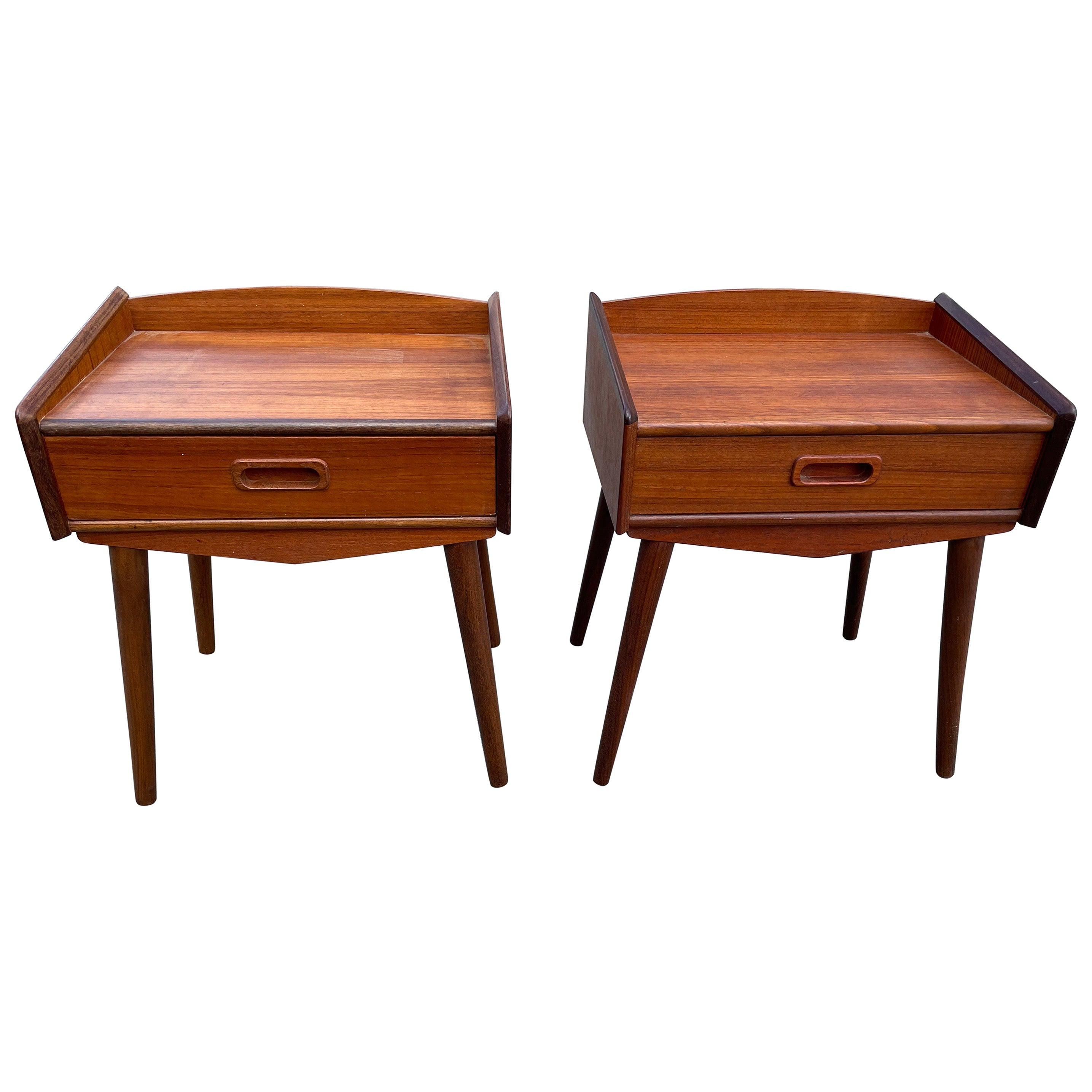 Set of Danish Mid-Century Modern Teak Nightstands, 1960's