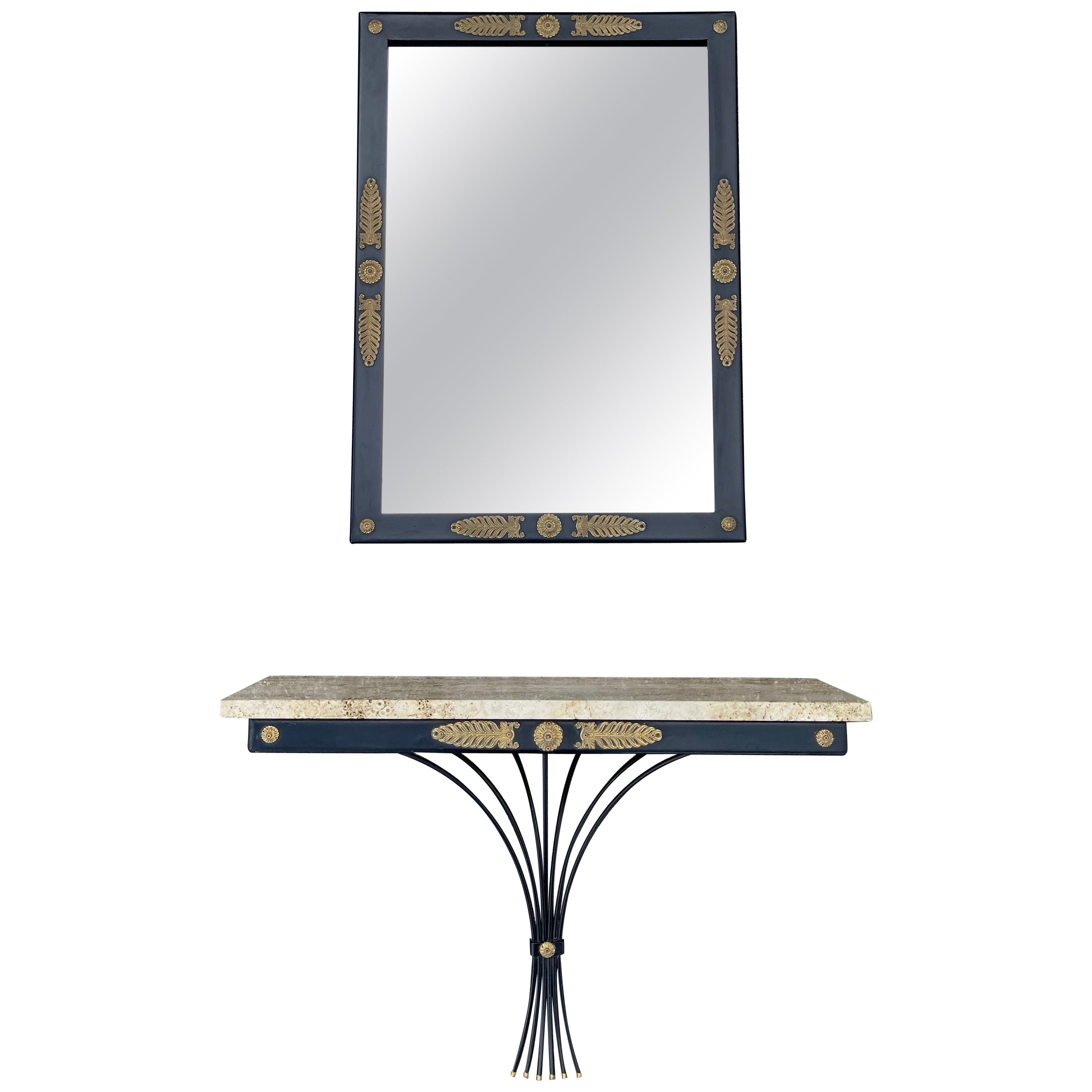 Midcentury Floating Console Table with Travertine Marble Top and Matching Mirror