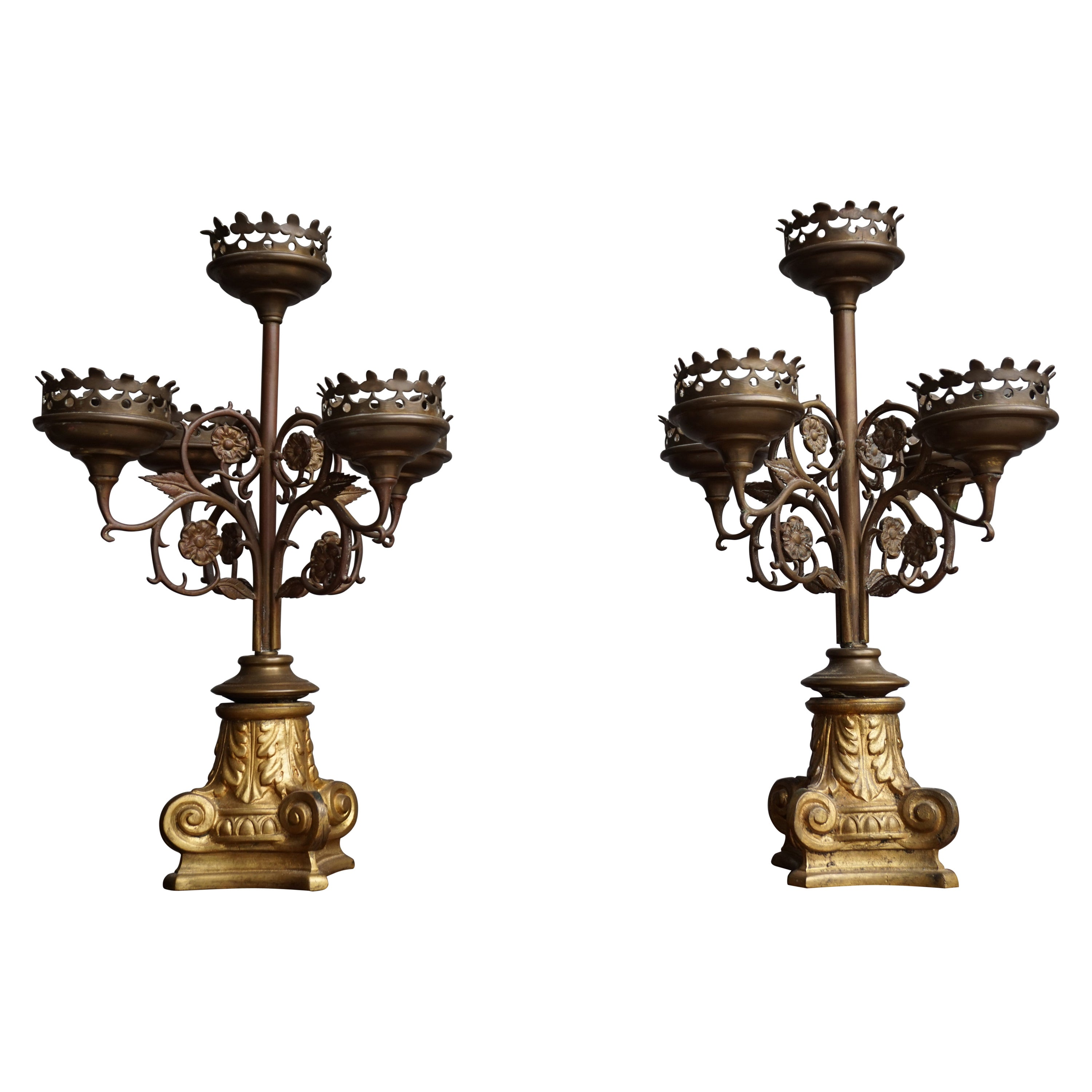 Antique Gothic Revival Pair of Bronze & Brass Table Candelabras / Candle Stands