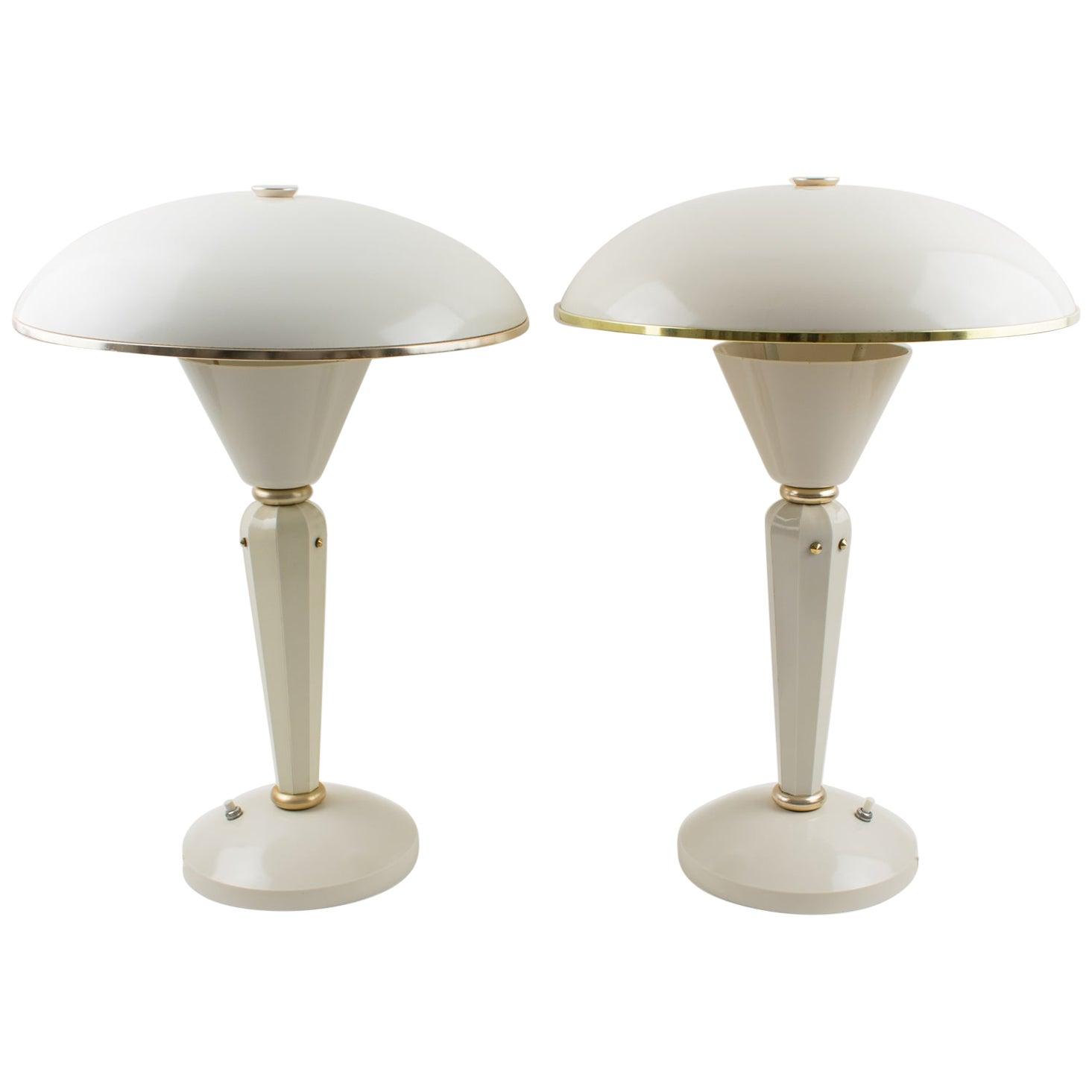 Eileen Gray for Jumo Art Deco Bakelite Table Lamp, a pair