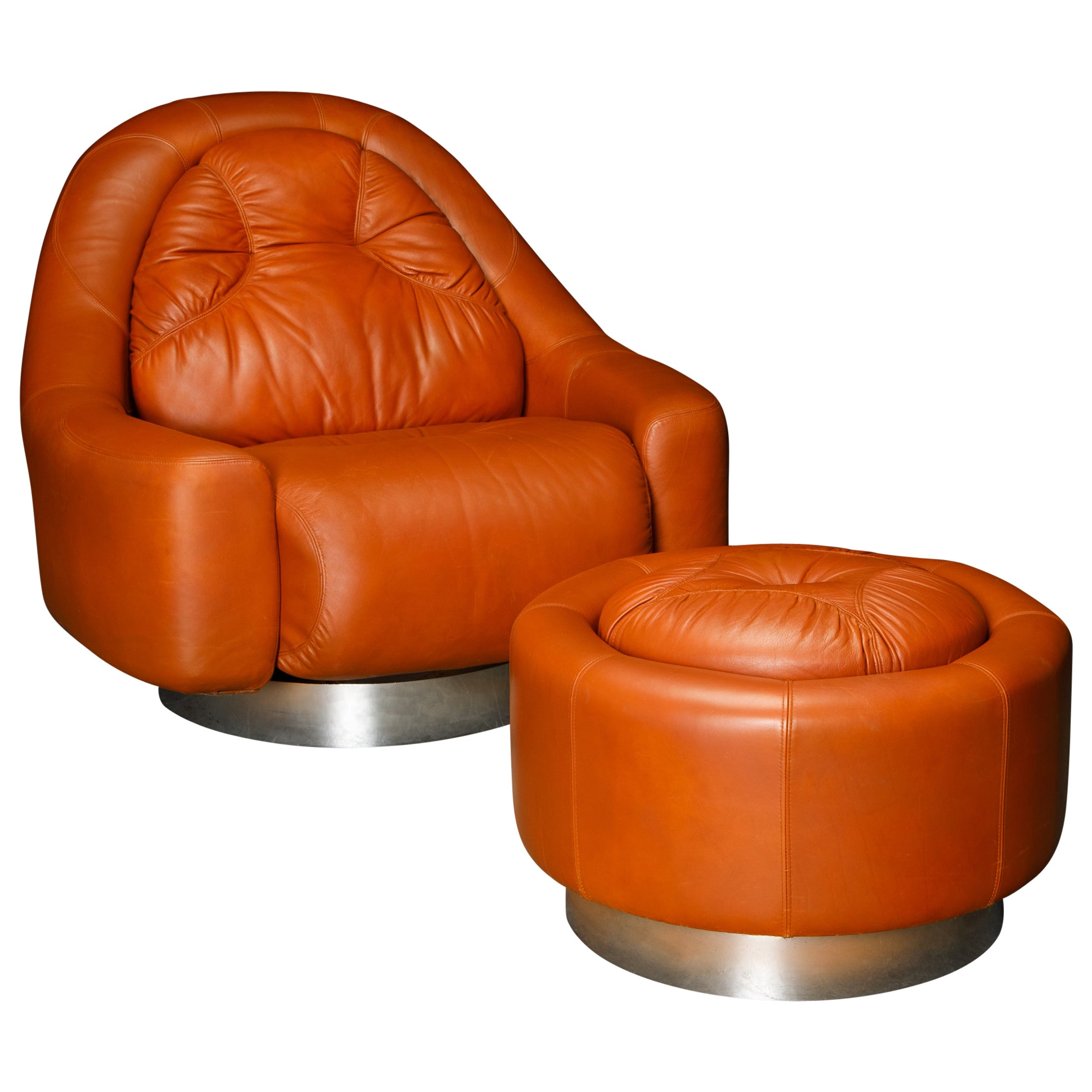 'Zator' Swivel Chair and Ottoman by Guido Faleschini for Mariani, 1971, Signed