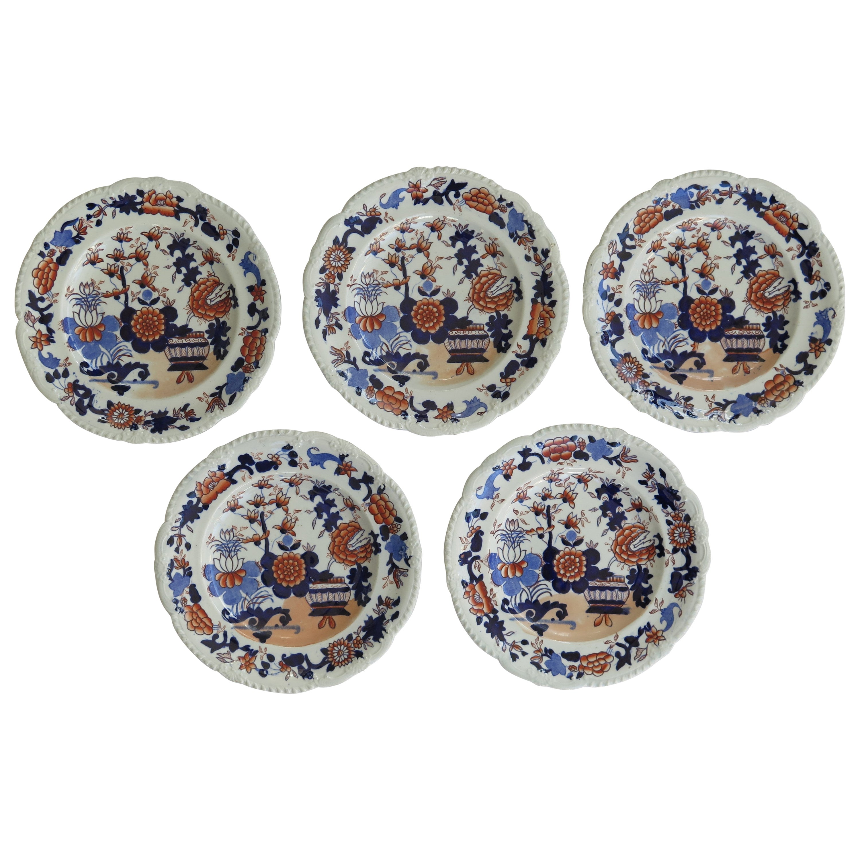 Set of Five Georgian Mason's Ironstone Desert Plates Basket Japan Ptn, Ca 1818