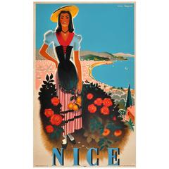 Original Vintage Travel Poster For Nice On The Cote d'Azur French Riviera France