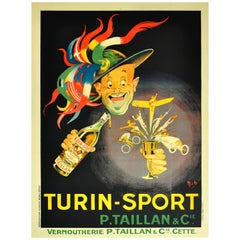 """Large Original 1920s Advertising Poster by Mich 'Michel Liebeaux' """"Turin Sport"""""""
