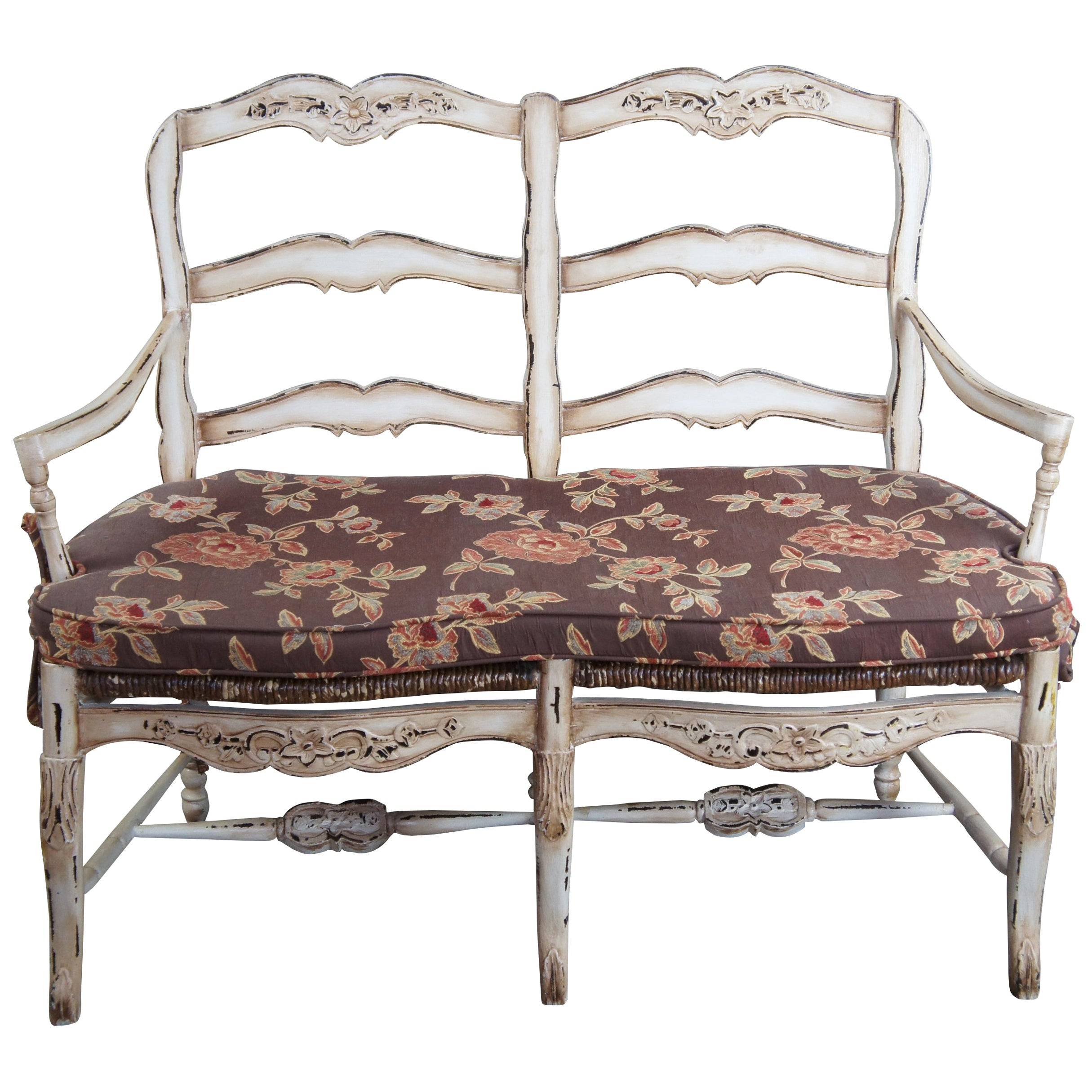 Vintage French Country Chic 2 Seater Ladderback Settee Rush Seat & Cushion