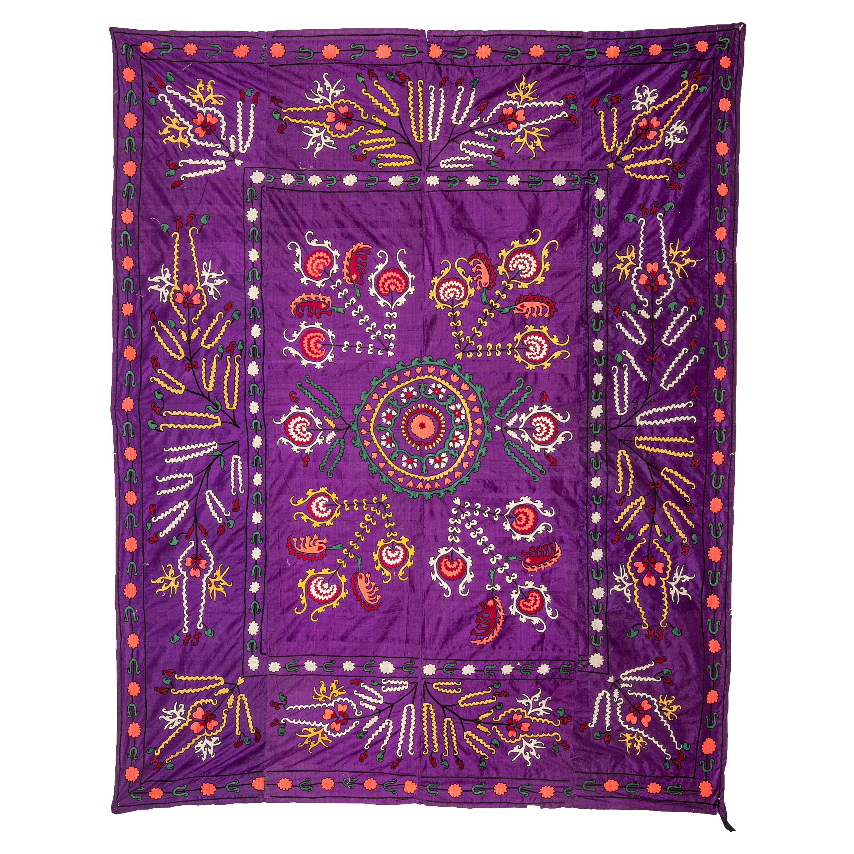 Antique Pure Silk Suzani from Uzbekistan, Central Asia, 1900s