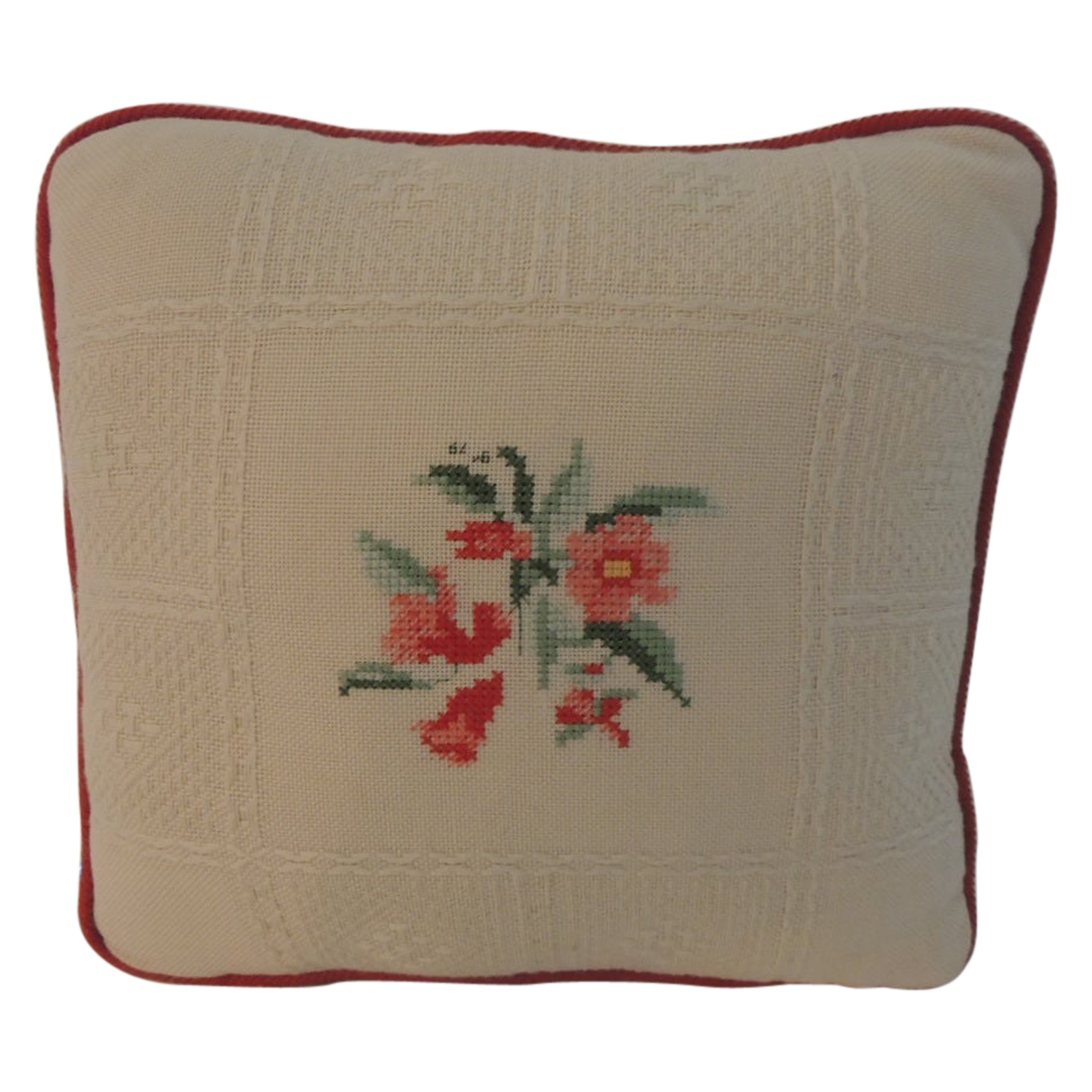 Vintage Red and Natural Embroidered Petite Decorative Pillow