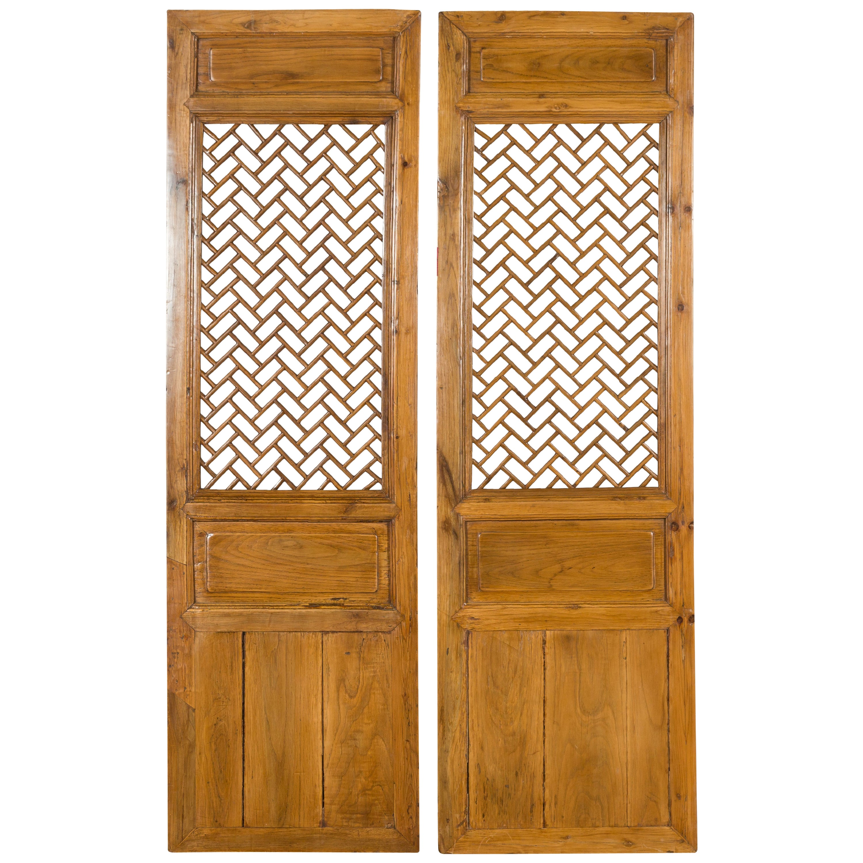 Pair of Chinese Qing Dynasty 19th Century Carved Screens with Fretwork Motifs