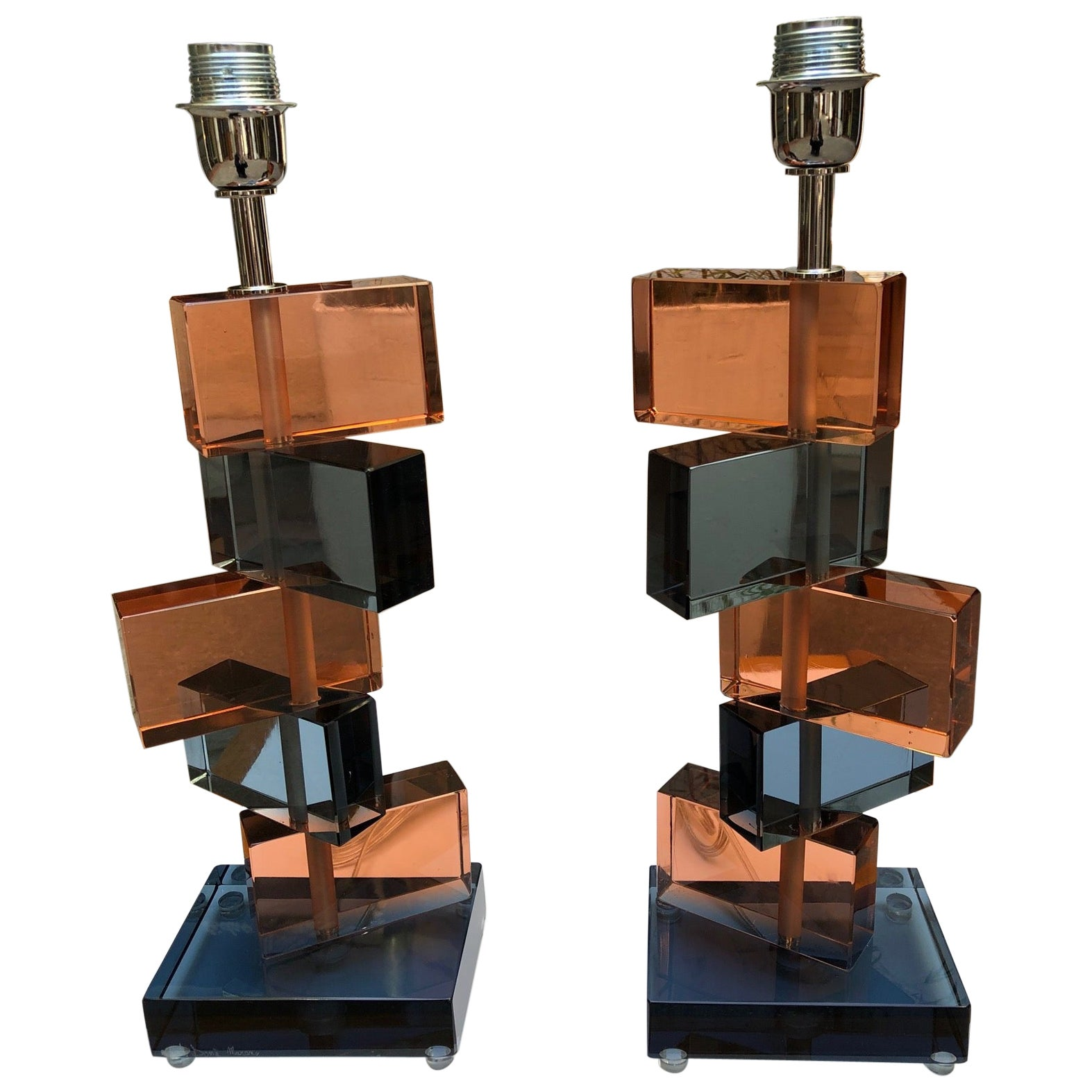Pair of Table Lamps 3, Murano Glass, circa 1980
