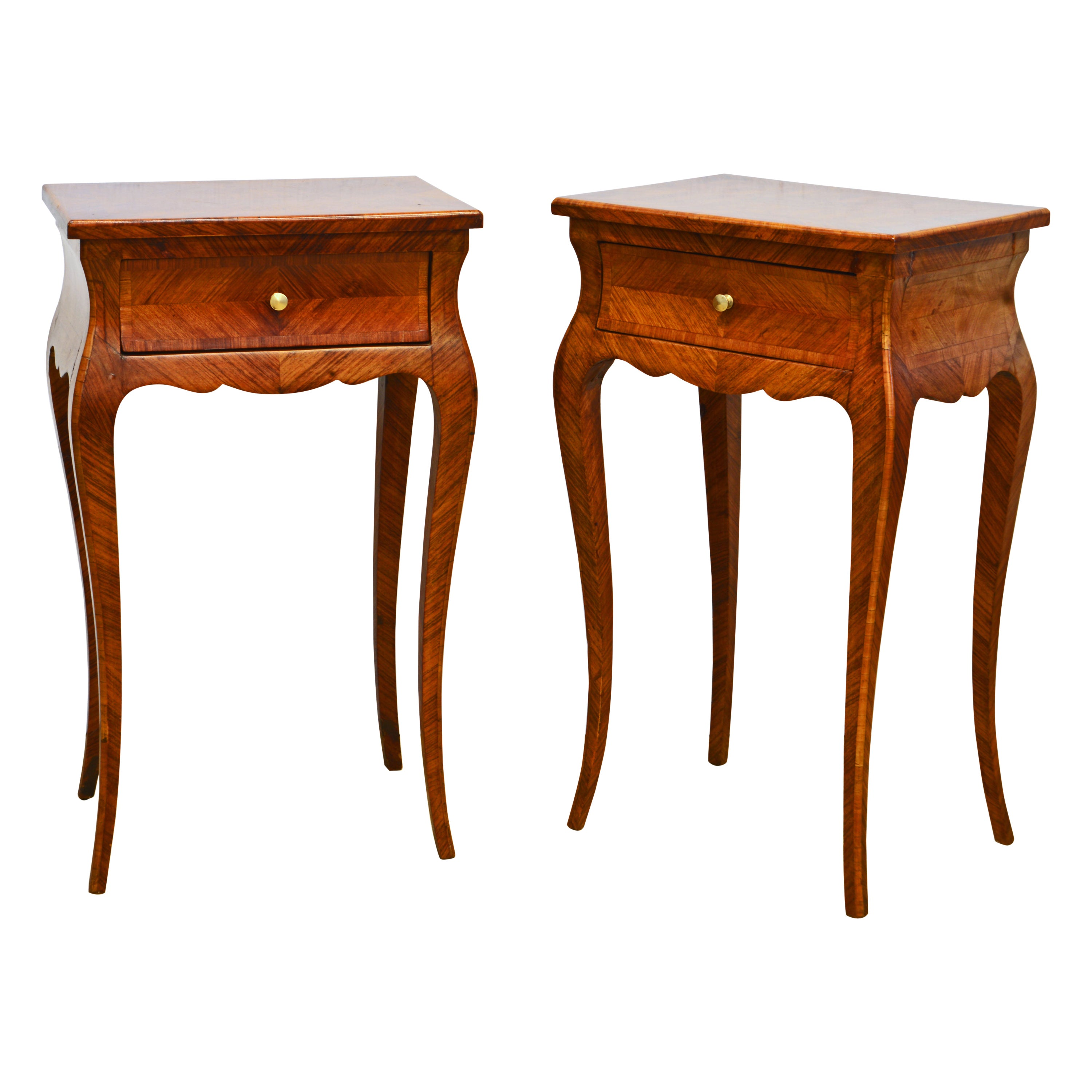 Pair of French Louis XV Style Petite Parquetry Kingwood Commodes