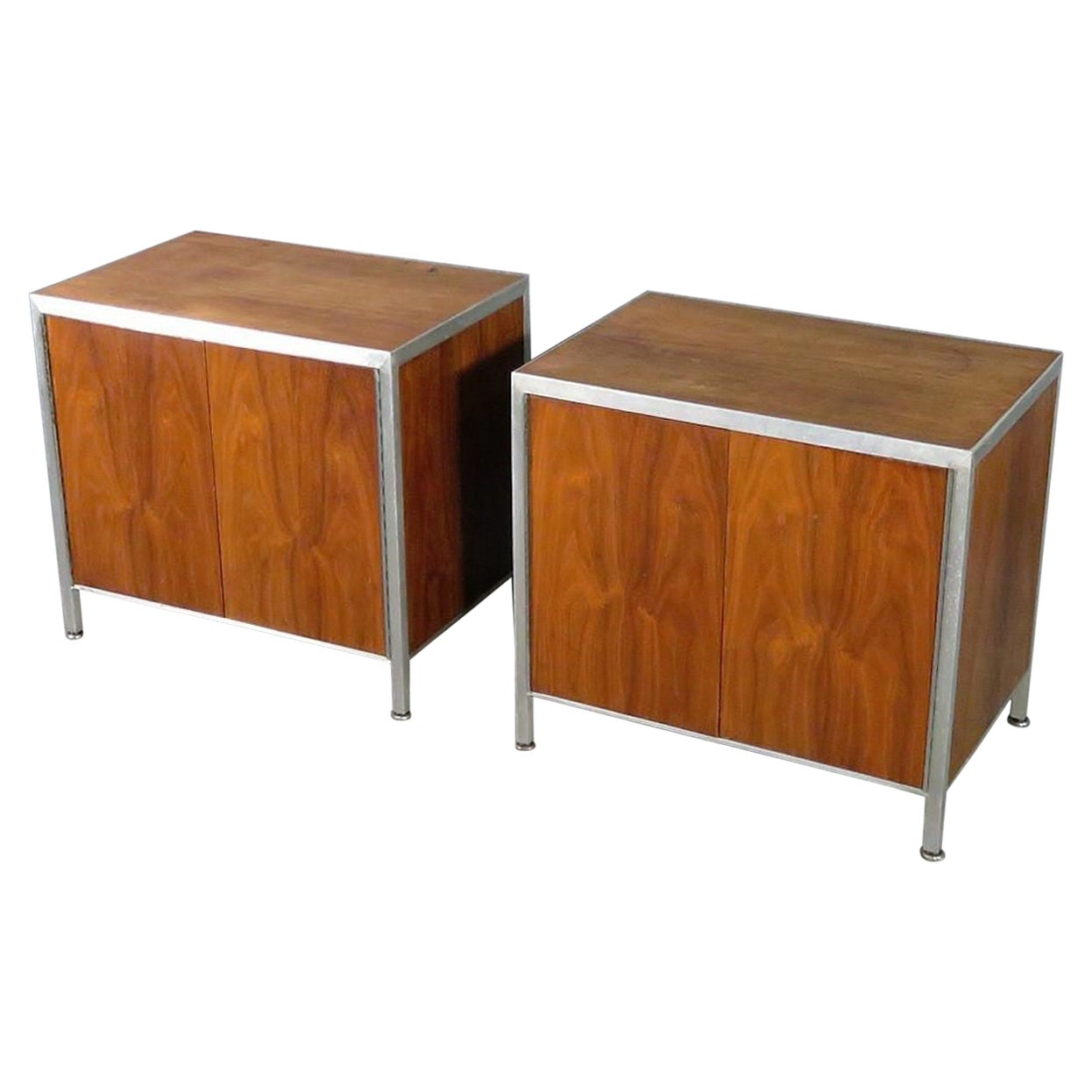 Walnut and Aluminum Side Cabinets