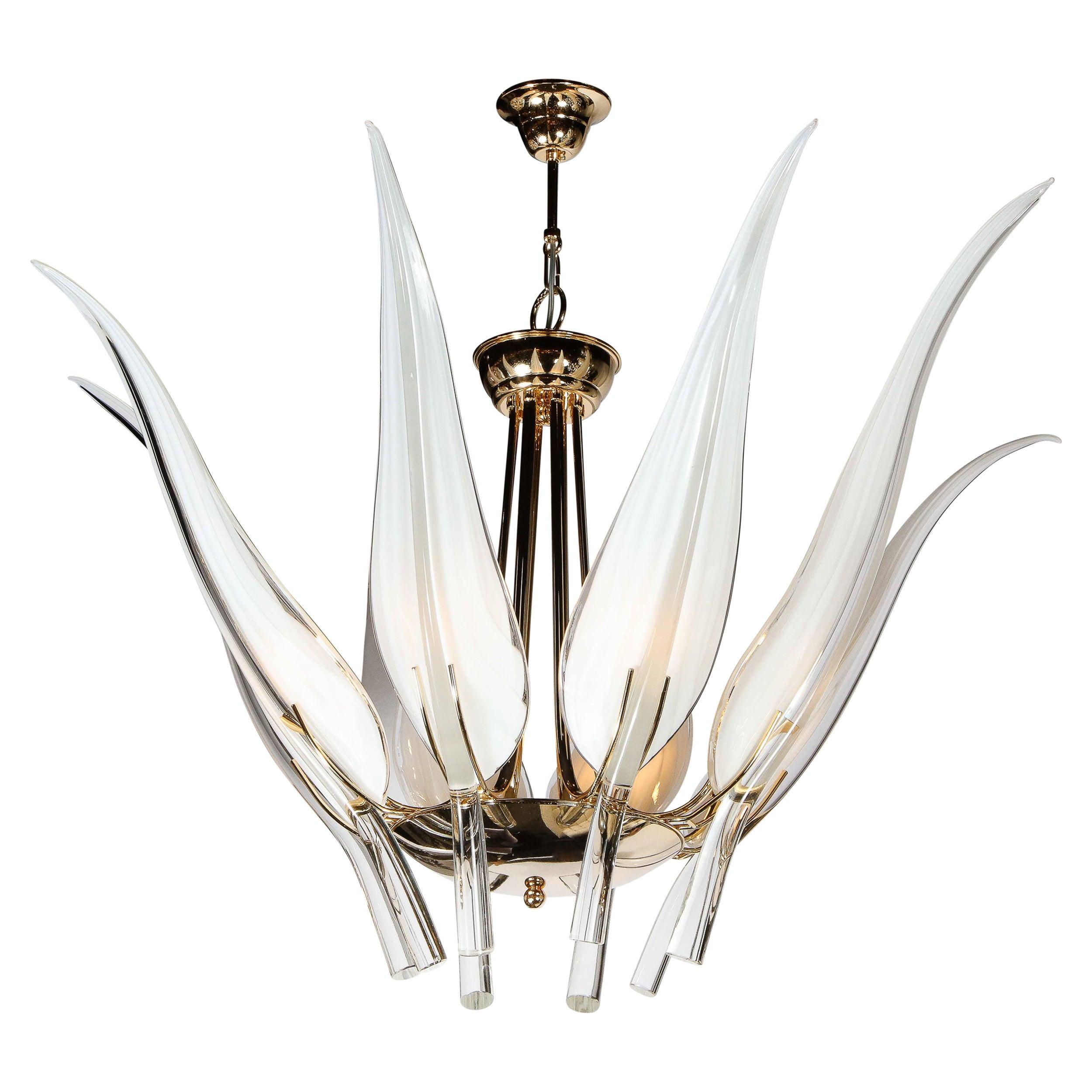 """Mid Century Polished Brass & Handblown Murano Glass Stylized """"Leaf"""" Chandelier"""