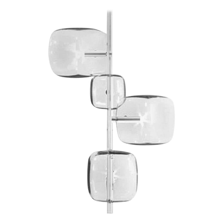 Moderno, Glass Pendant Lamp with 4-Lights with Nickel Finish, Made in Italy