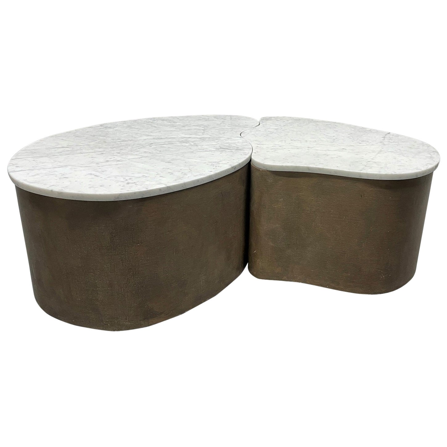 Biomorphic Grasscloth and Carrara Marble-Top Coffee Table