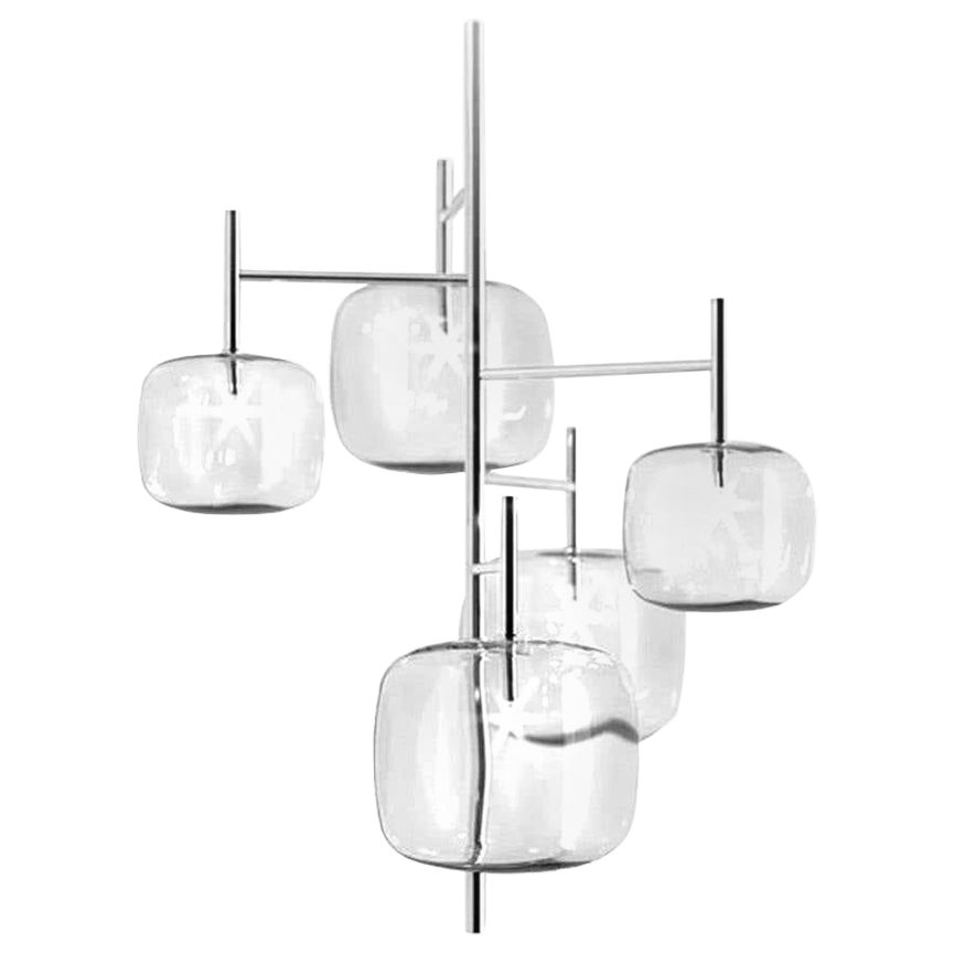 Moderno, Glass Pendant Lamp with 5-Lights with Nickel Finish, Made in Italy