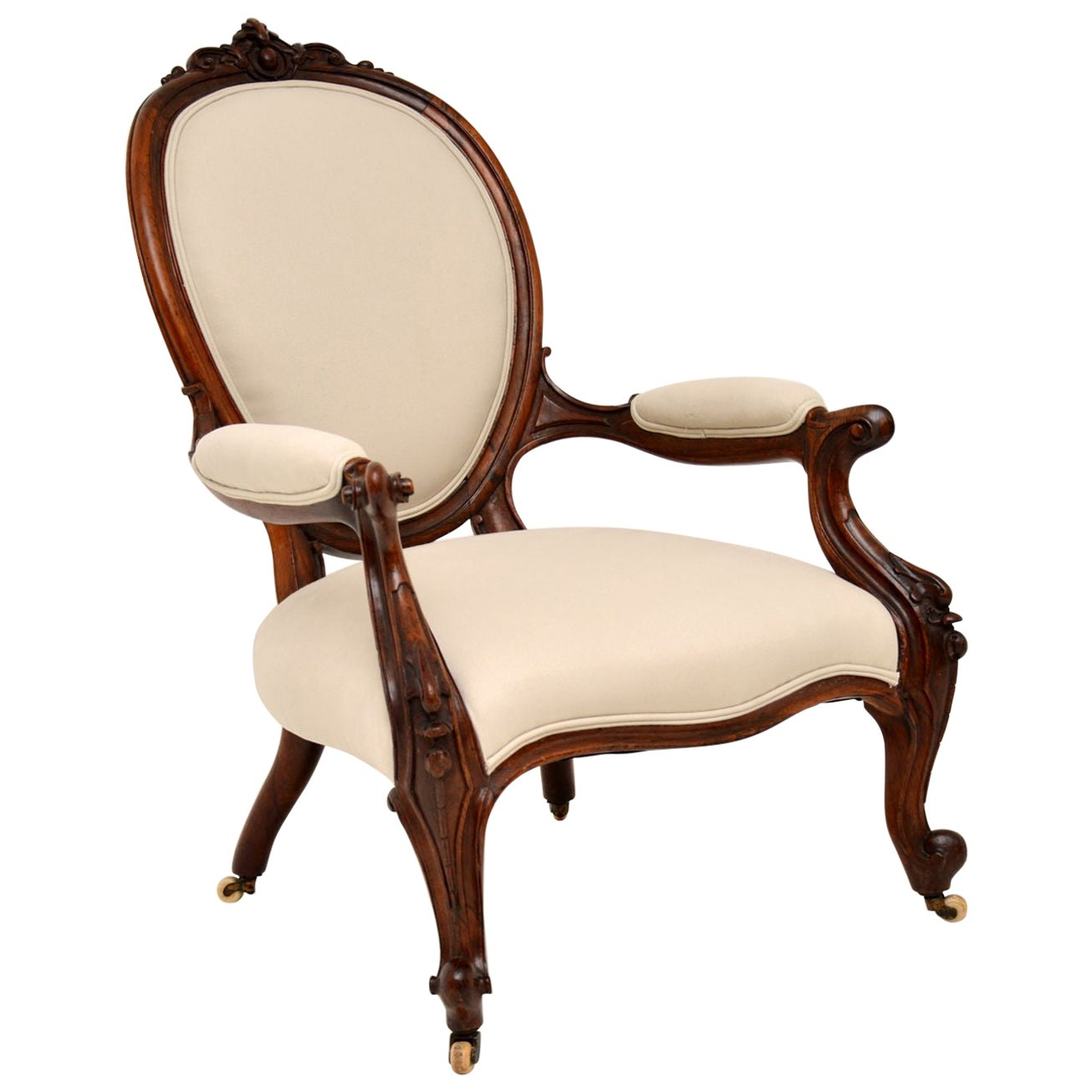 Carved Antique Victorian Armchair