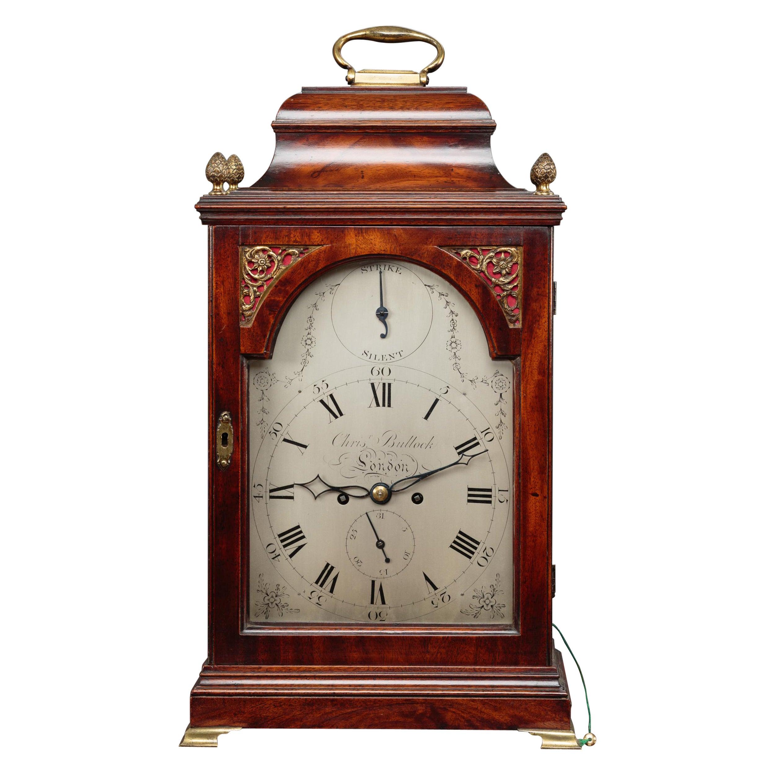 George III Mahogany Cased Bracket Clock by Christopher Bullock, London