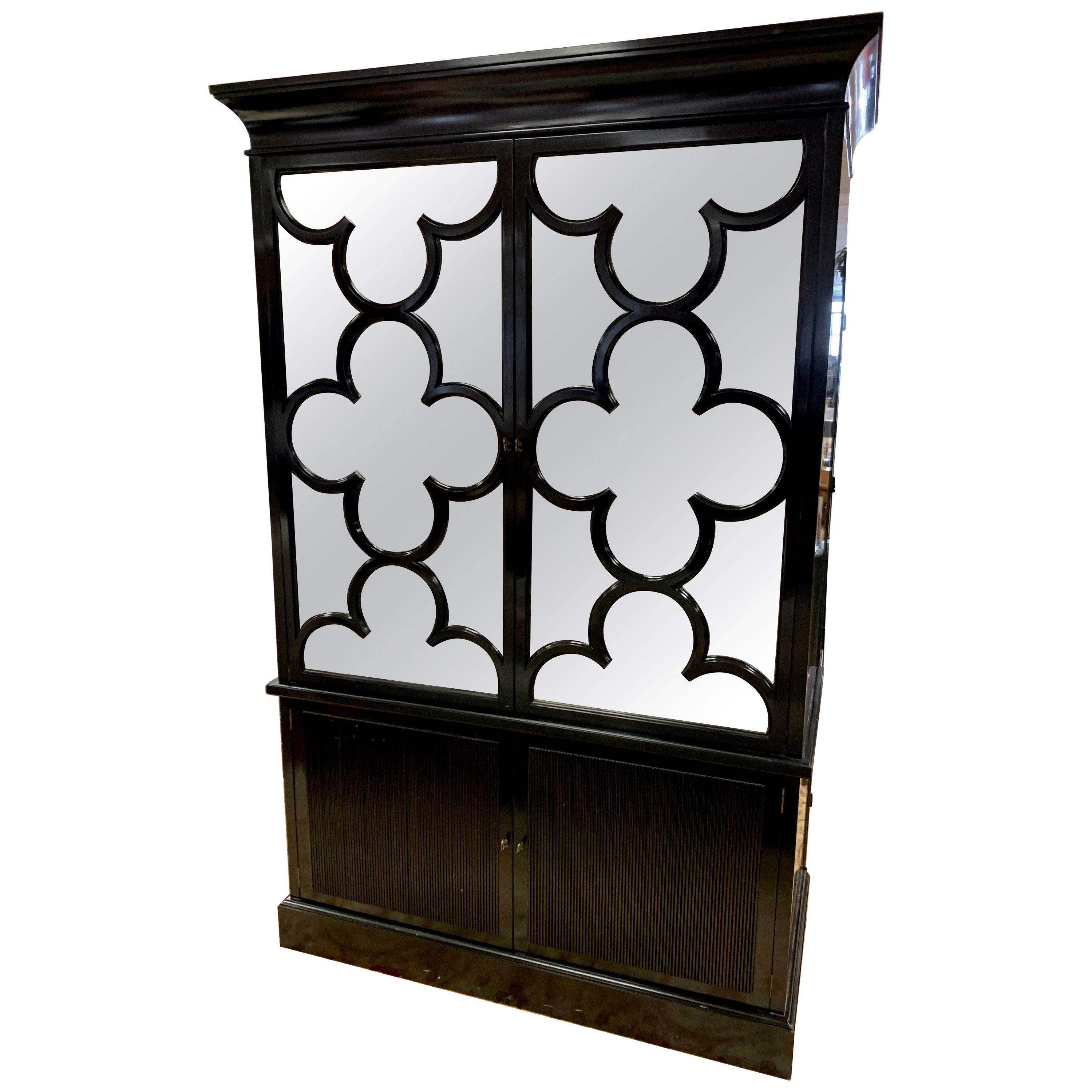 Barbara Barry Baker Furniture Black Lacquered Mirrored Wardrobe Cabinet Armoire
