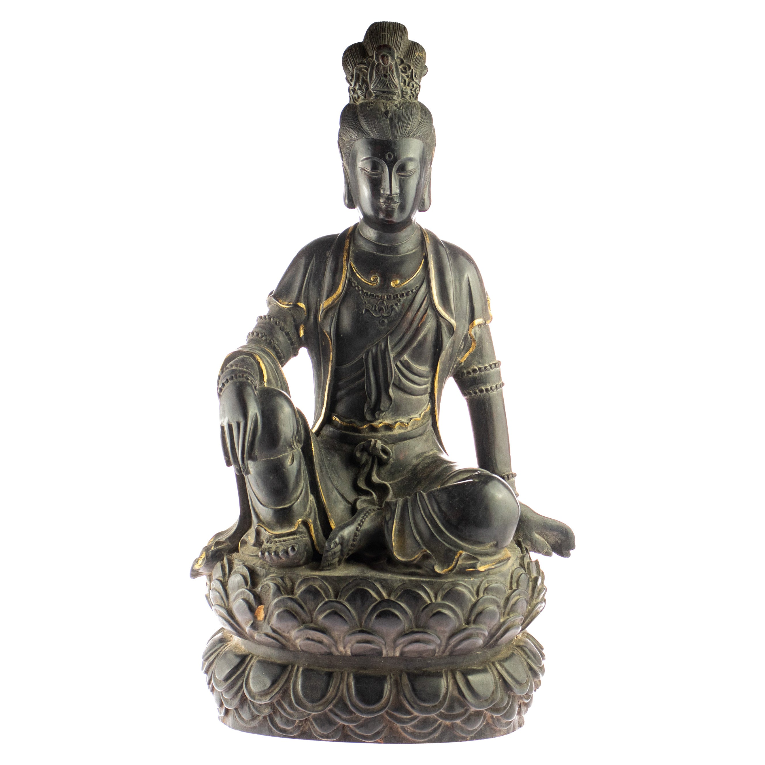 Wood Guanyin Bodhisattva Female Buddha Asian Handmade Carved Statue Sculpture