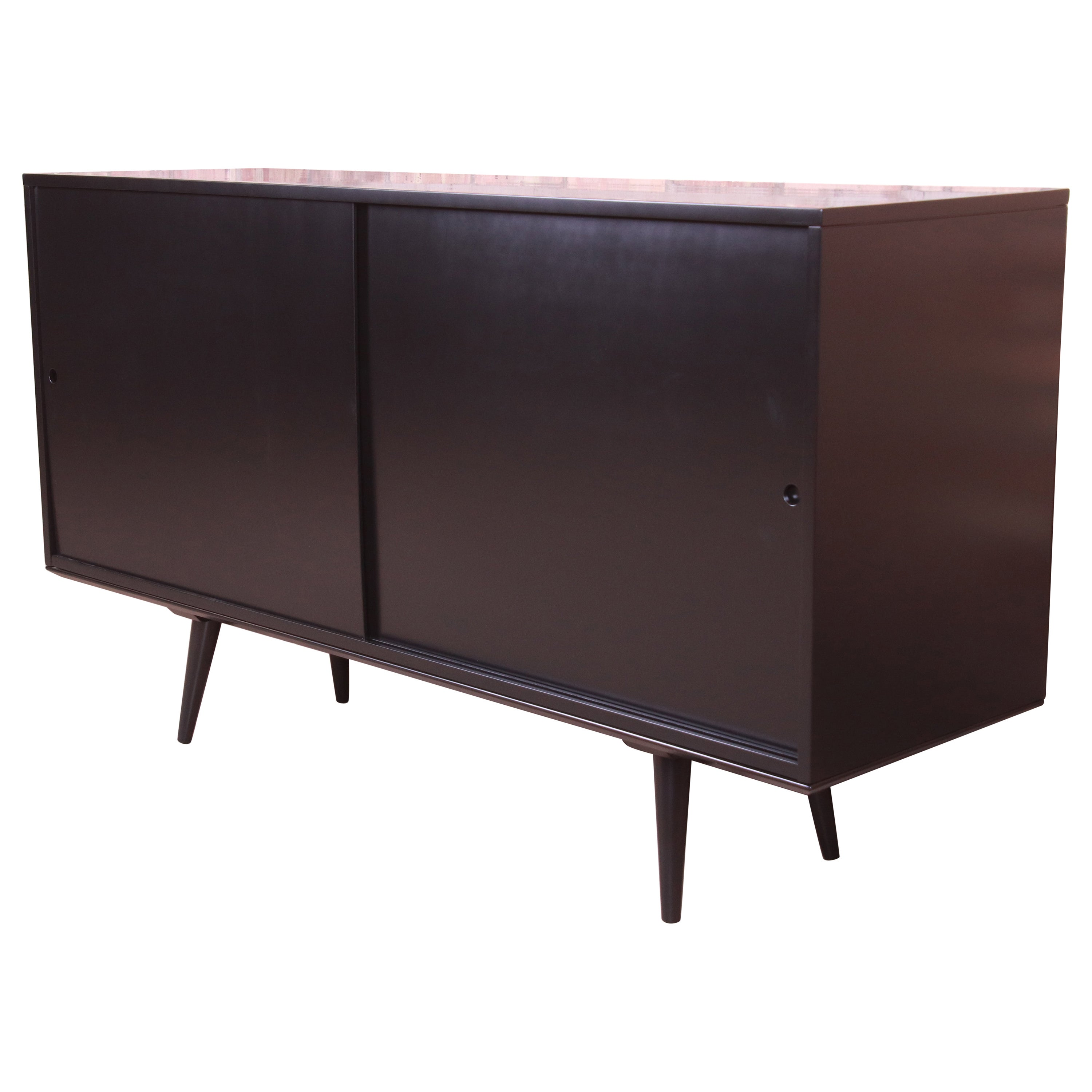 Paul McCobb Planner Group Black Lacquered Sideboard Credenza, Newly Refinished