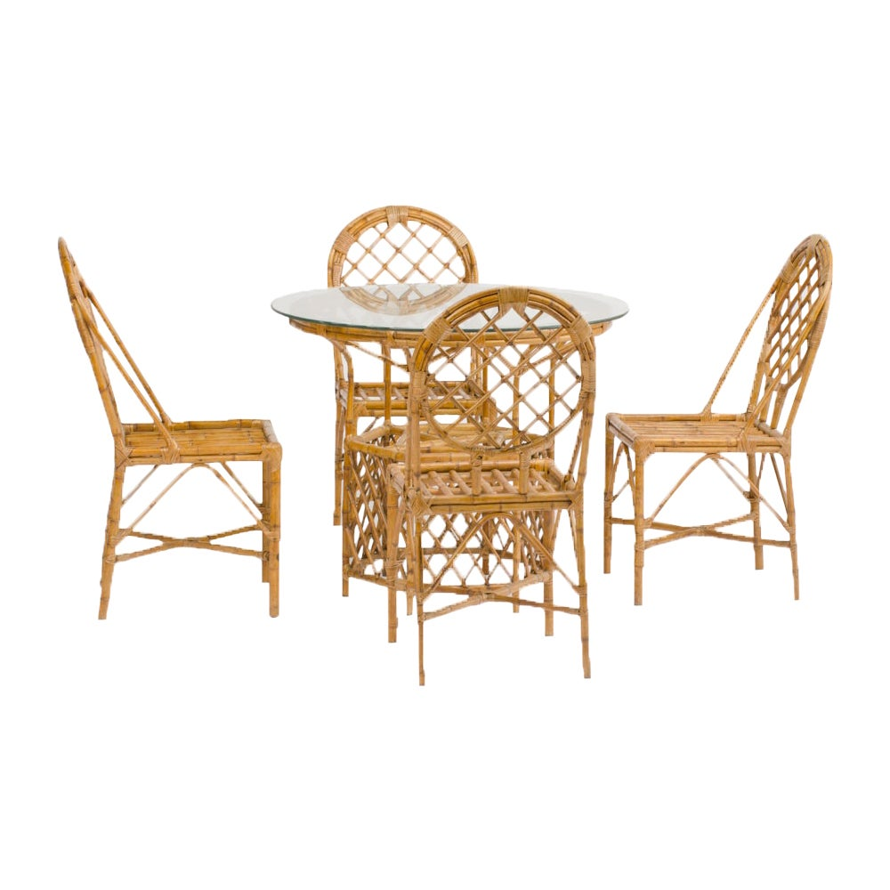 Rattan Dining Room Table and Four Chairs, circa 1950
