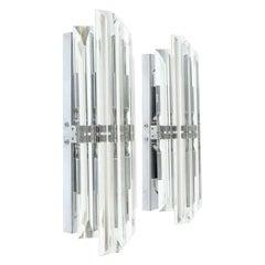 Pair of Venini Style Italian Murano Glass & Chrome Sconces