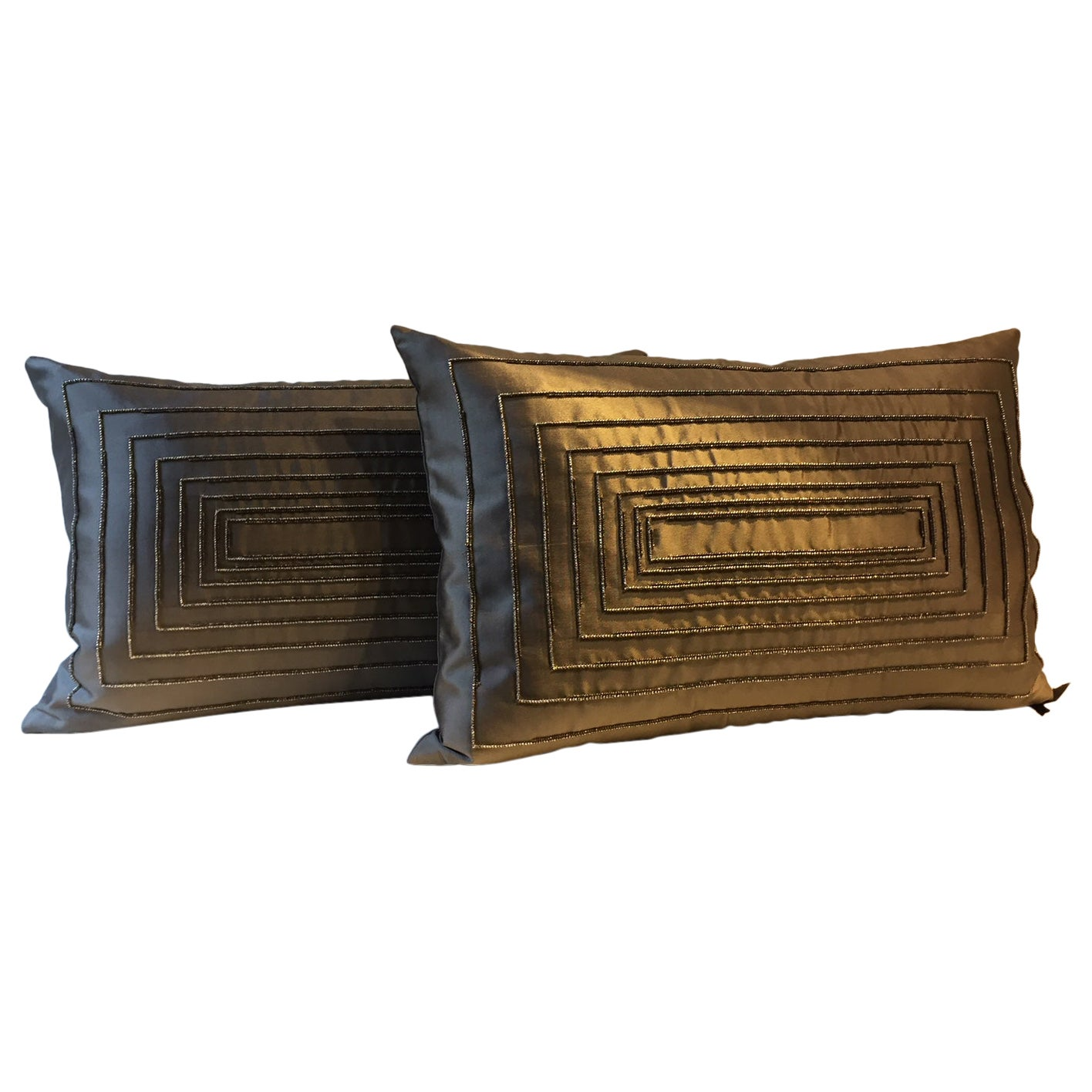 Contemporary Design Hand Embroidered Cushions in Silk Color Peppercorn Brown