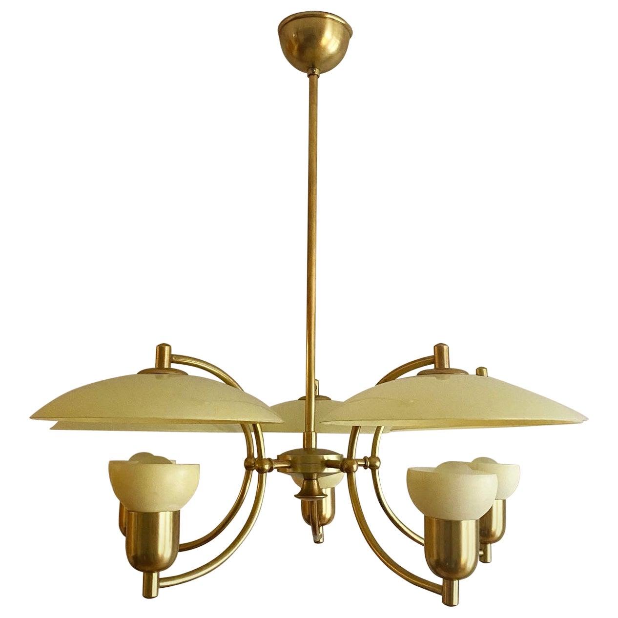 Danish Mid Century Modern Ernst Voss Brass Chandelier