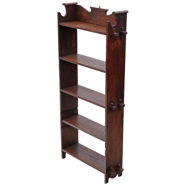 Antique C1900 Art Nouveau Arts and Crafts Oak Bookcase