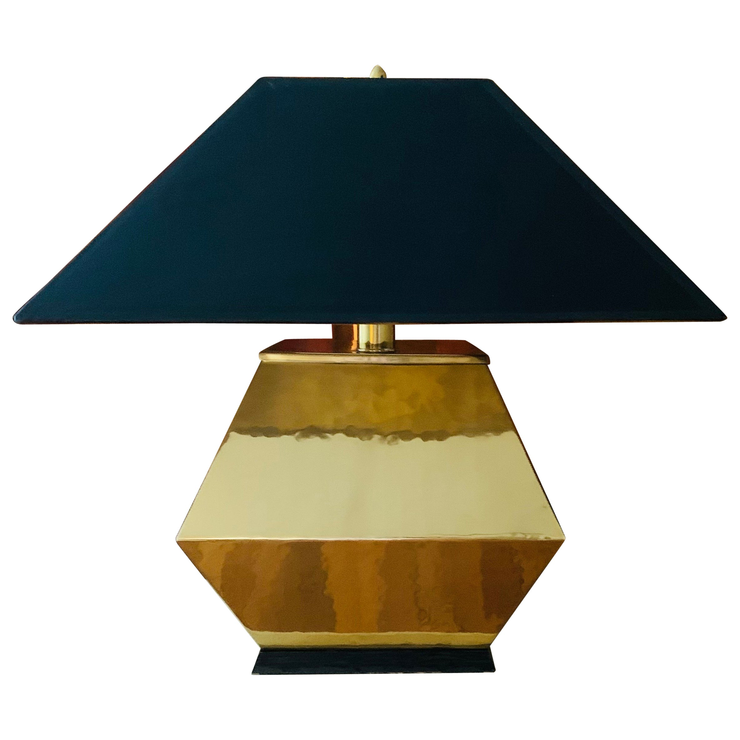 Large Square Faceted Brass Table Lamp with Black Shade