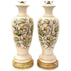 Pair of English Floral Motif Porcelain Table Lamps