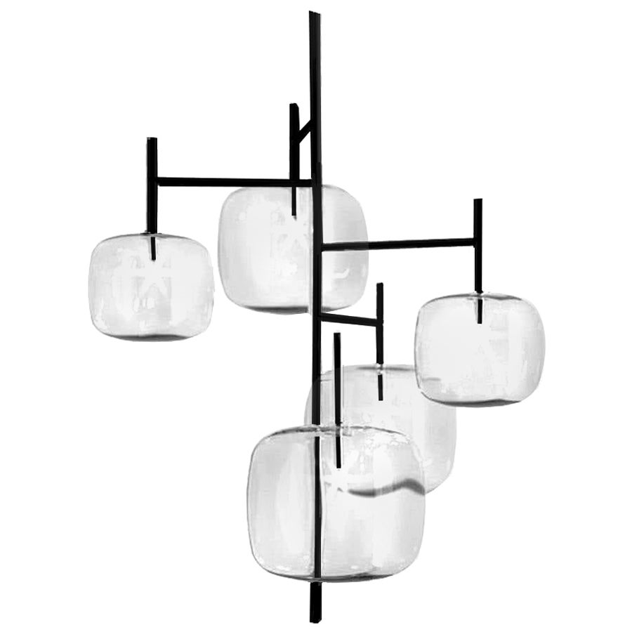 Moderno, Glass Pendant Lamp with 5-Lights with Black Nickel Finish Made in Italy