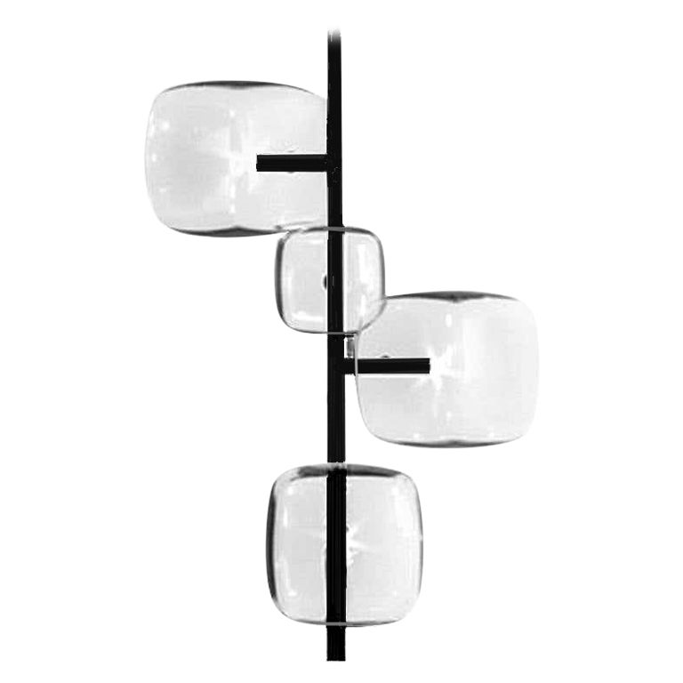 Moderno, Glass Pendant Lamp with 4-Lights with Black Nickel Finish Made in Italy