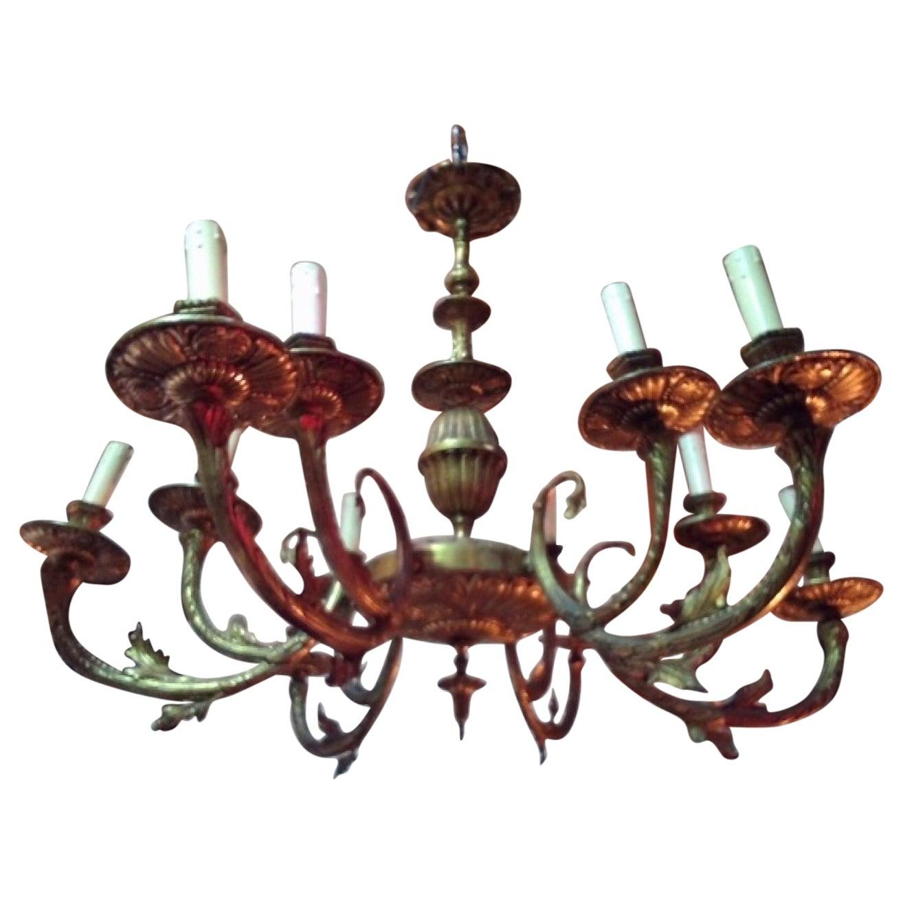 Impressive Antique Brass Chandelier, 20th Century
