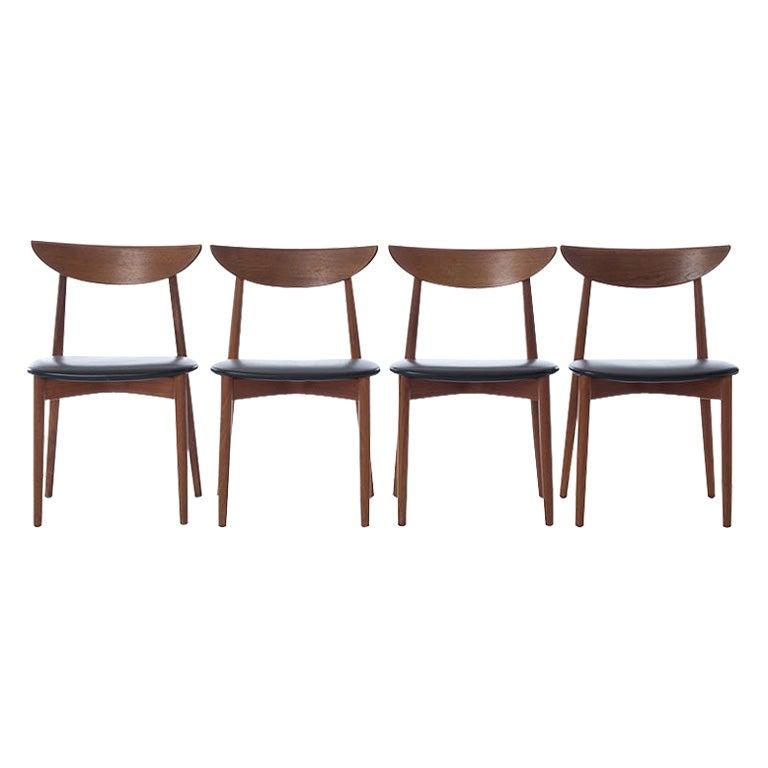Scandinavian Modern Teak Dining Chairs Set of 4 Harry Ostergaard Design