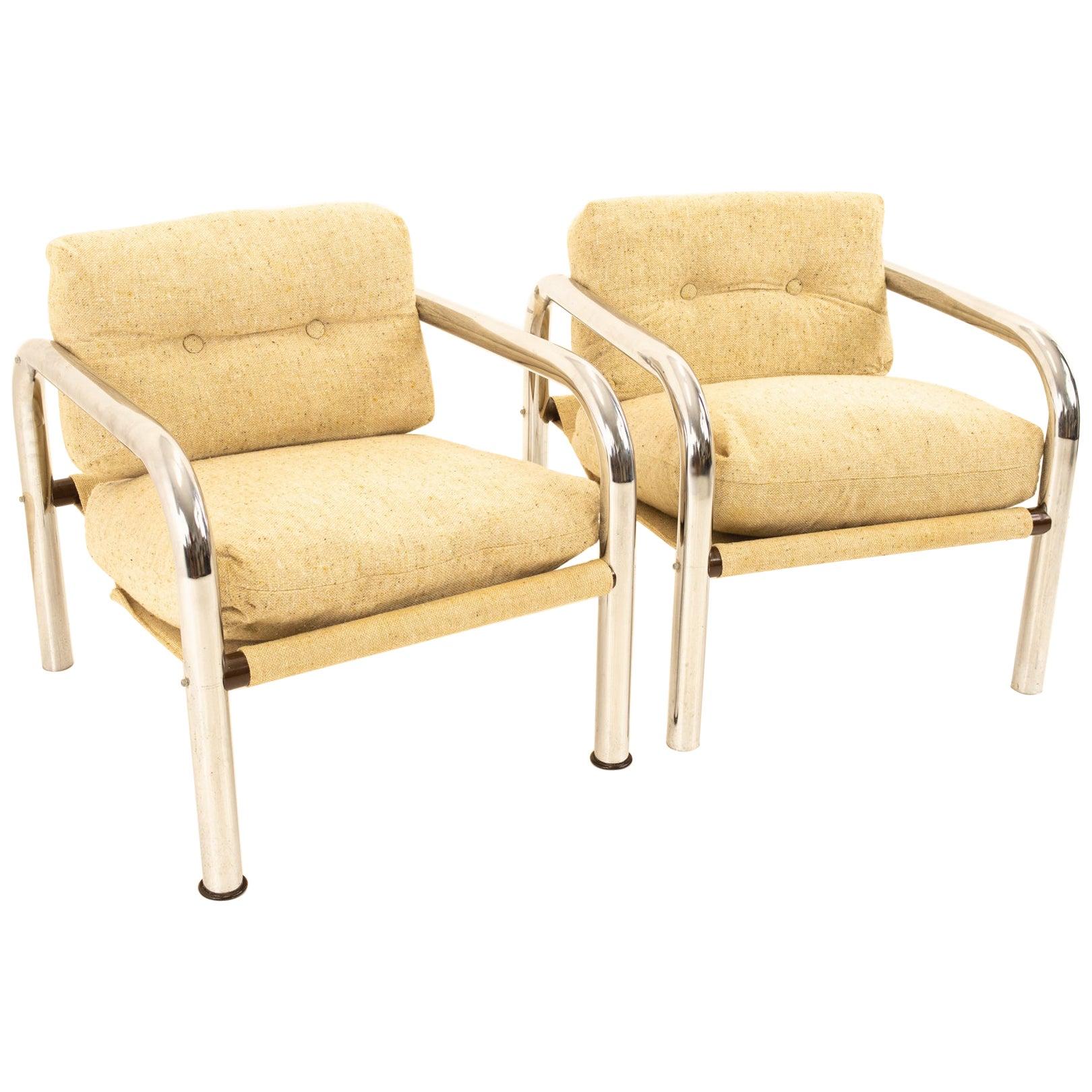 Milo Baughman Style Mid Century Chrome Lounge Chairs, Pair