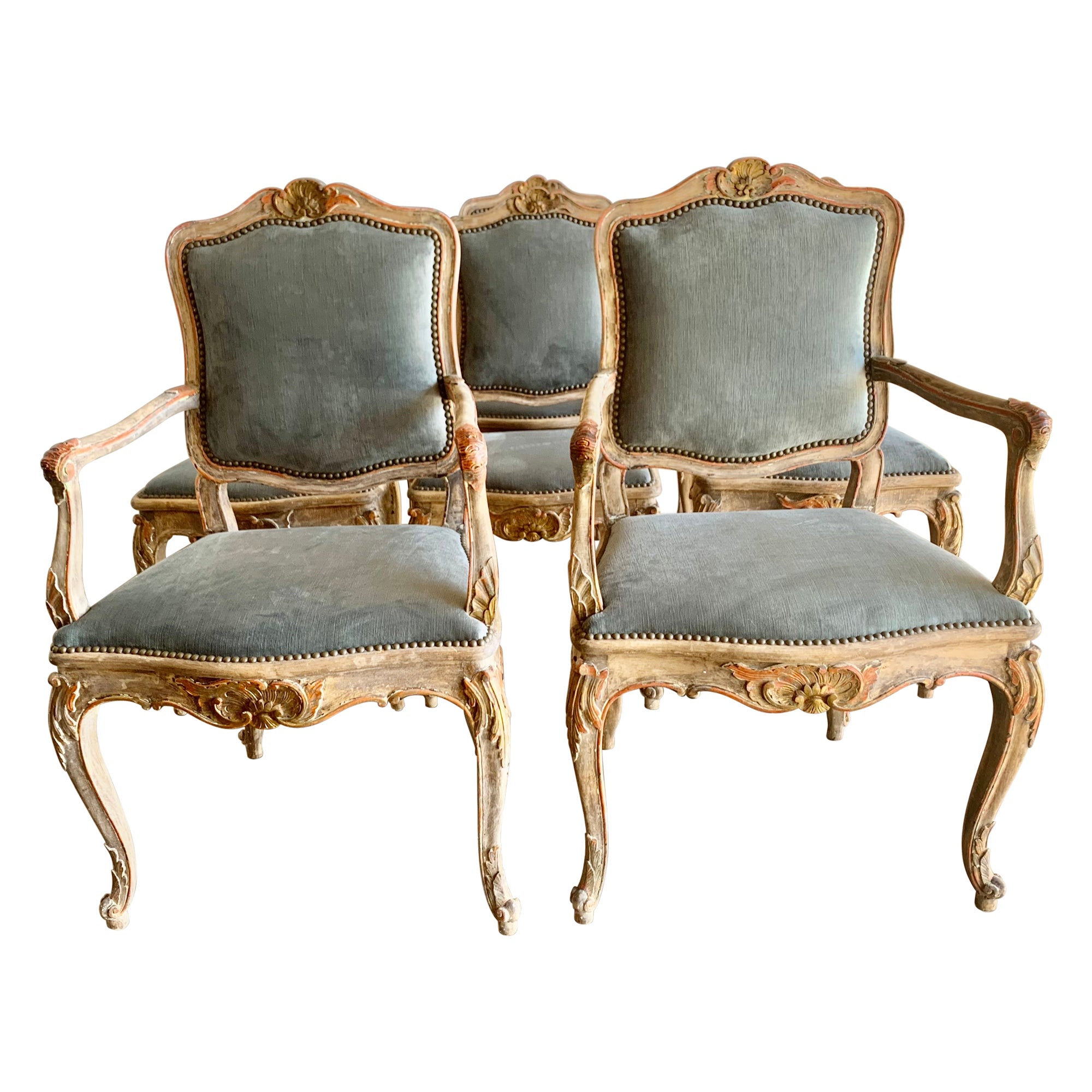 Set of Eight French Painted & Parcel Gilt Dining Chairs