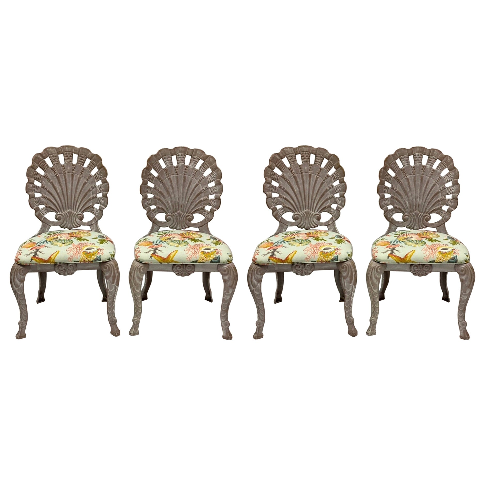 Brown Jordan Style Shell Form Grotto Inspired Outdoor Dining Chairs, Set of 4