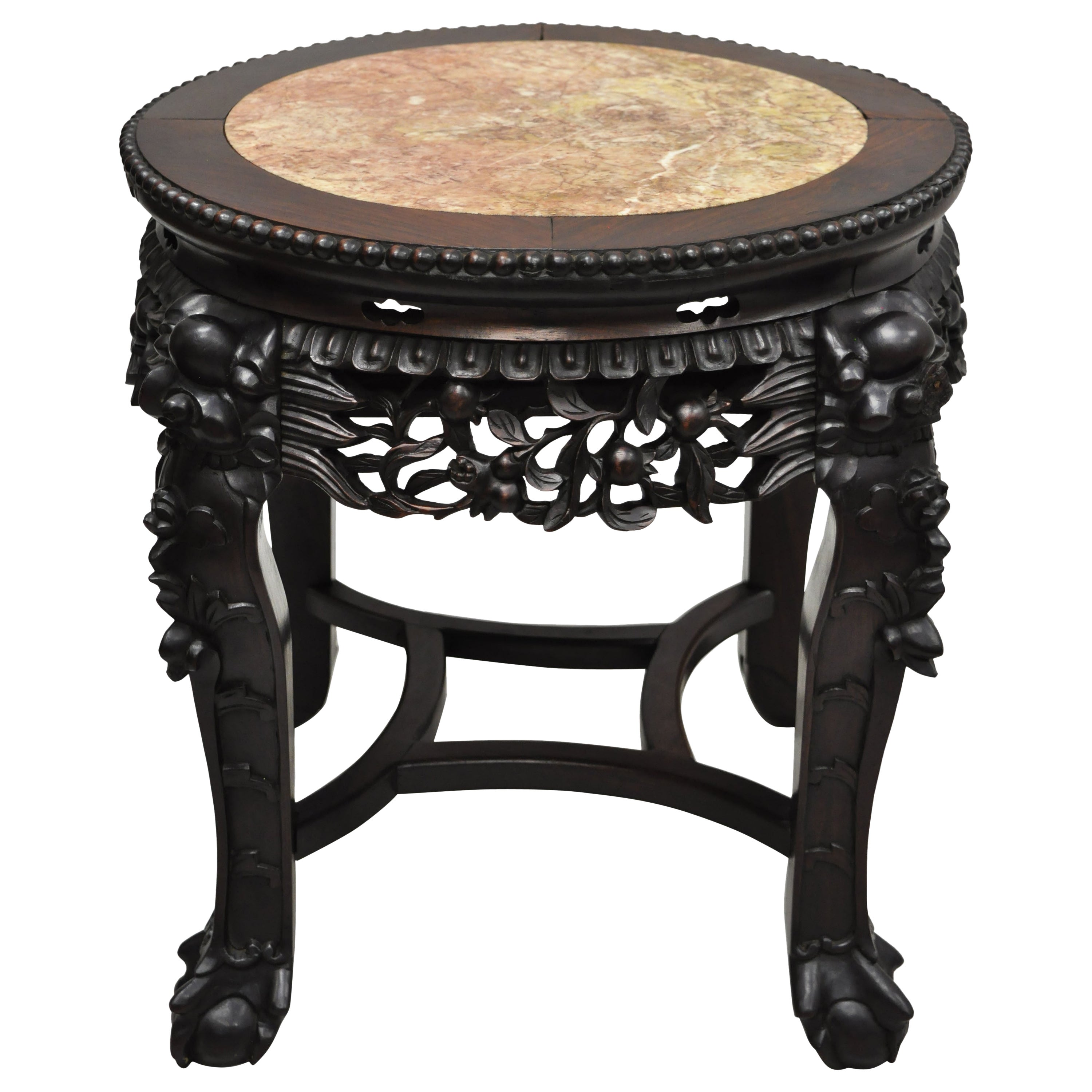 Antique Carved Hardwood Rosewood Marble-Top Chinese Pedestal Table Plant Stand B