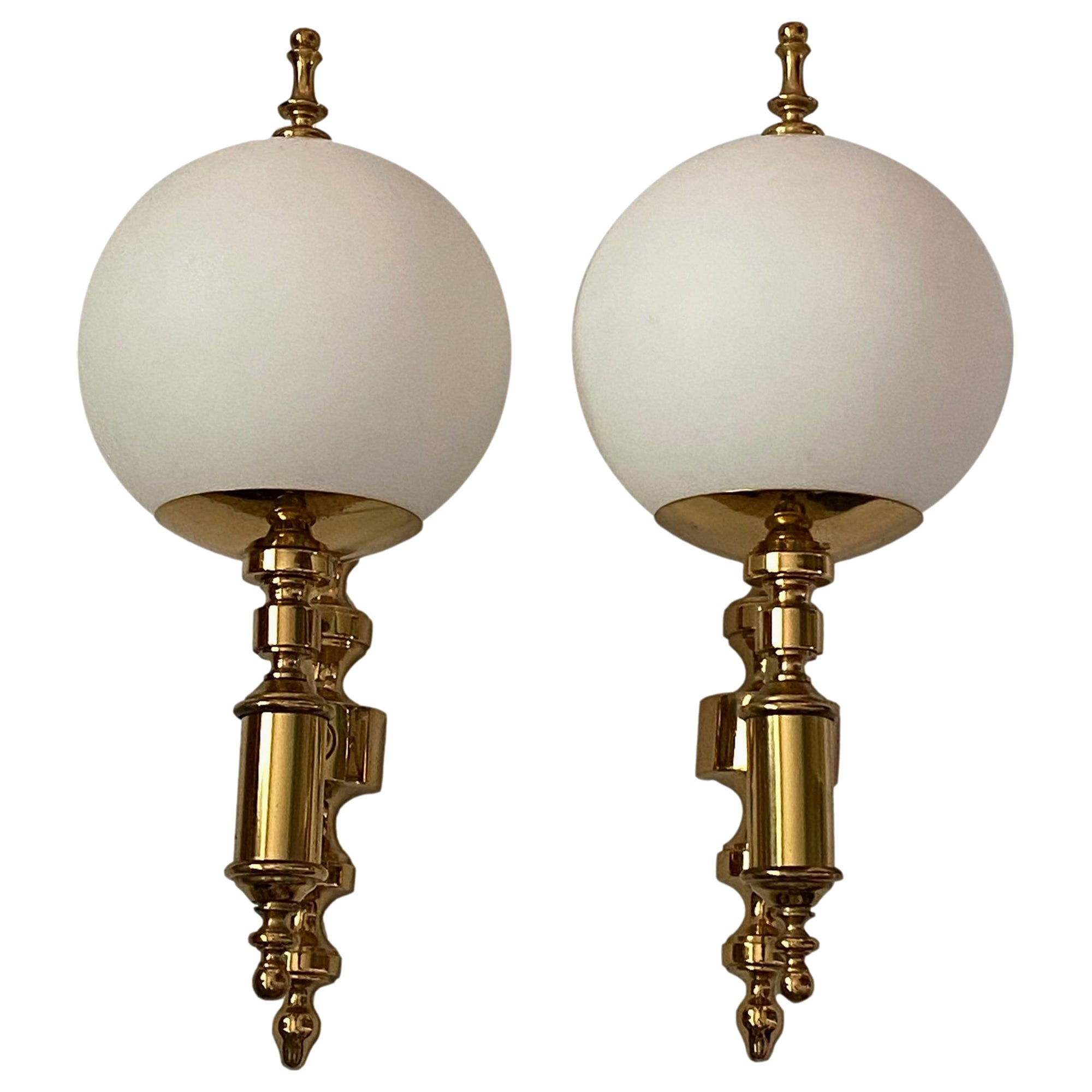 Pair of Art Deco Style Brass and Milk Glass Sconces Sölken Leuchten, Germany