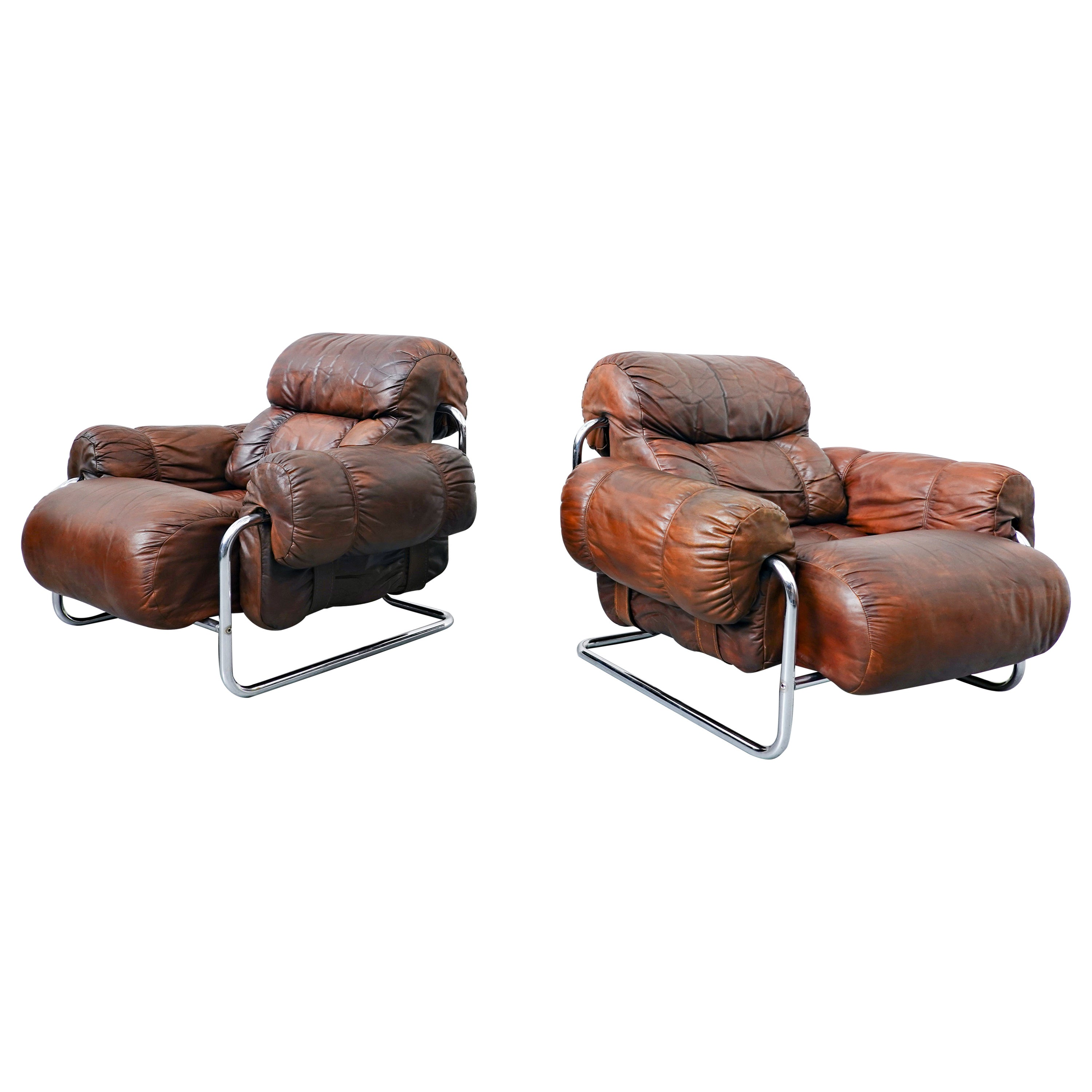 """Pair of Italian """"Tucroma"""" Armchairs by Guido Faleschini for Mariani, 1970s"""