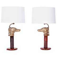 Pair of English Dog Head Table Lamps