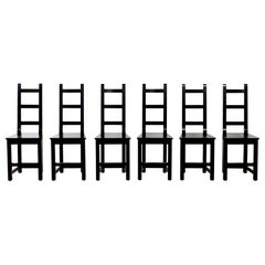 Set of 6 Black Wood Swedish Chairs Sven Larsson, 80s