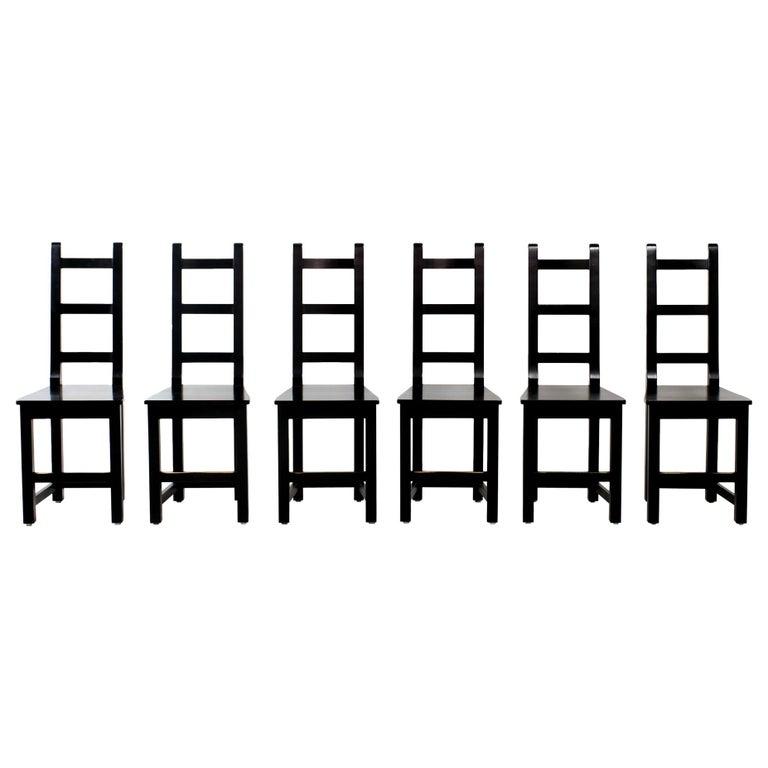 Set of 6 Black Wood Swedish Chairs Sven Larsson, 80s For Sale